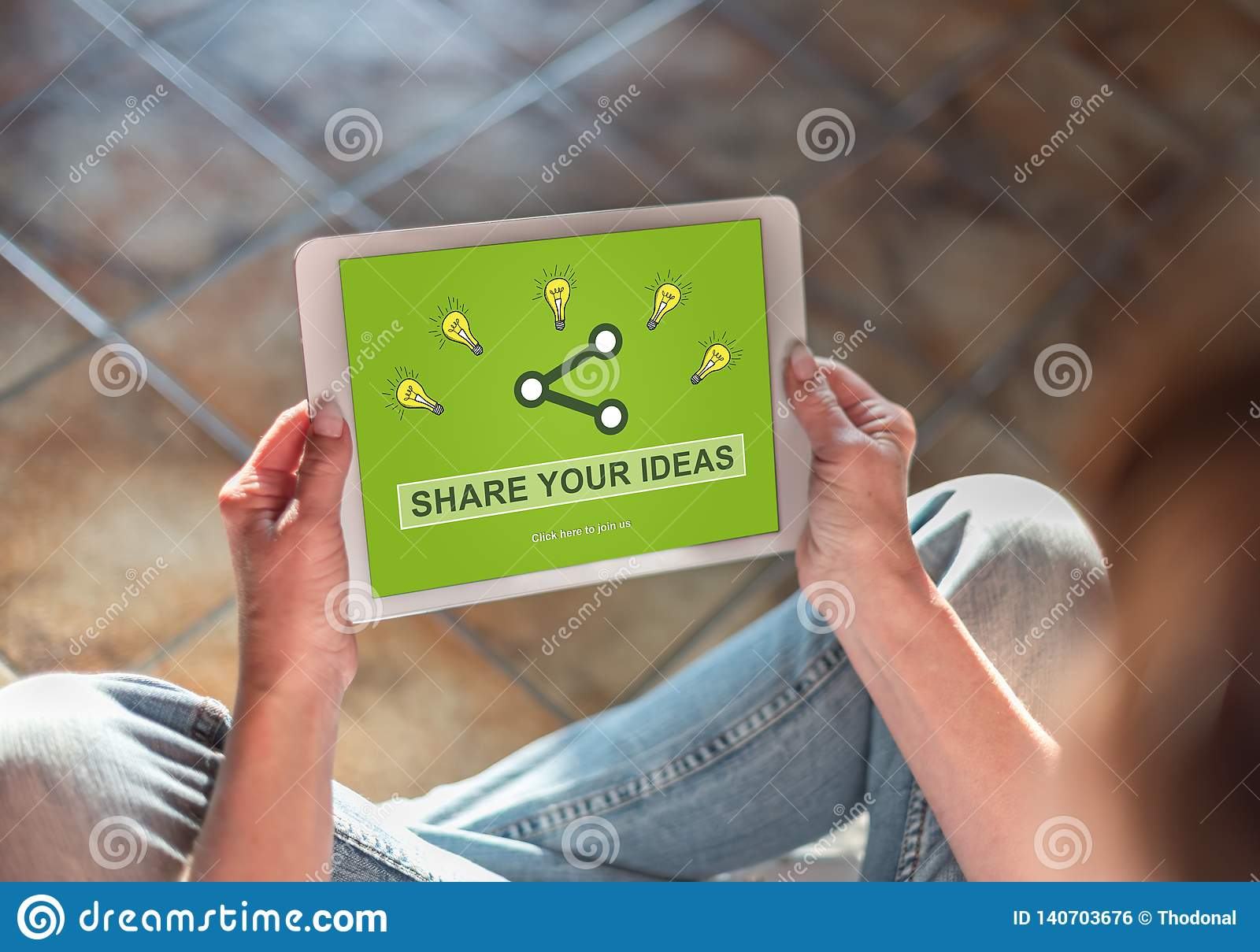 Ideas sharing concept on a tablet