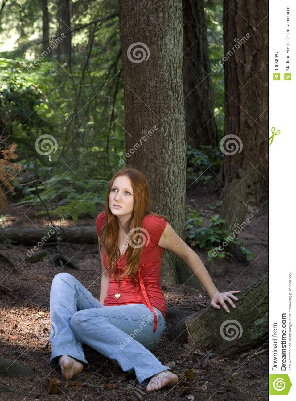 Woman Sitting On Forest Floor Stock Image Image Of