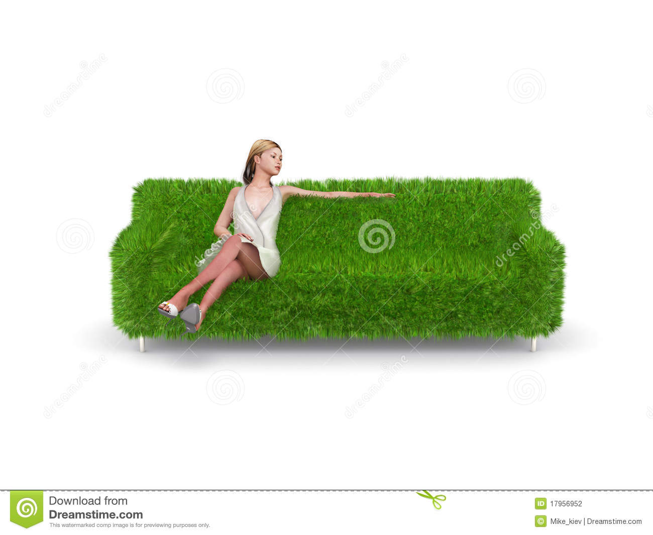 Grass Couch Woman Sitting On Green Grass Couch Stock Photography Image 17956952
