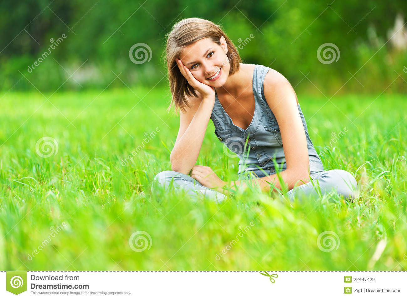 Download Woman Sitting On Green Meadow Stock Image - Image of cheerful, joyful: 22447429