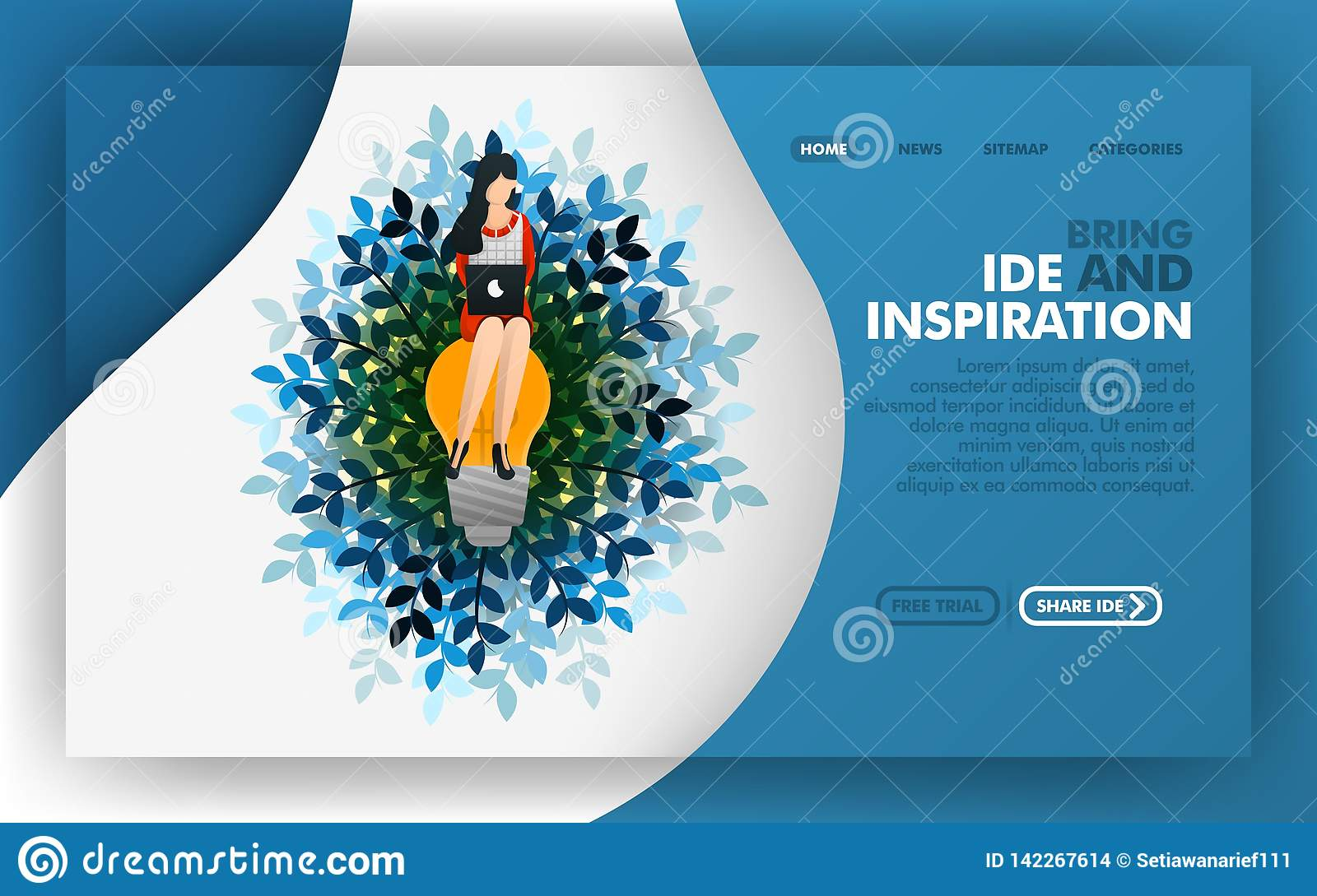 The woman sitting on the lamp, Vector illustration concept of looking for ideas and inspiration. easy to use for website, banner,