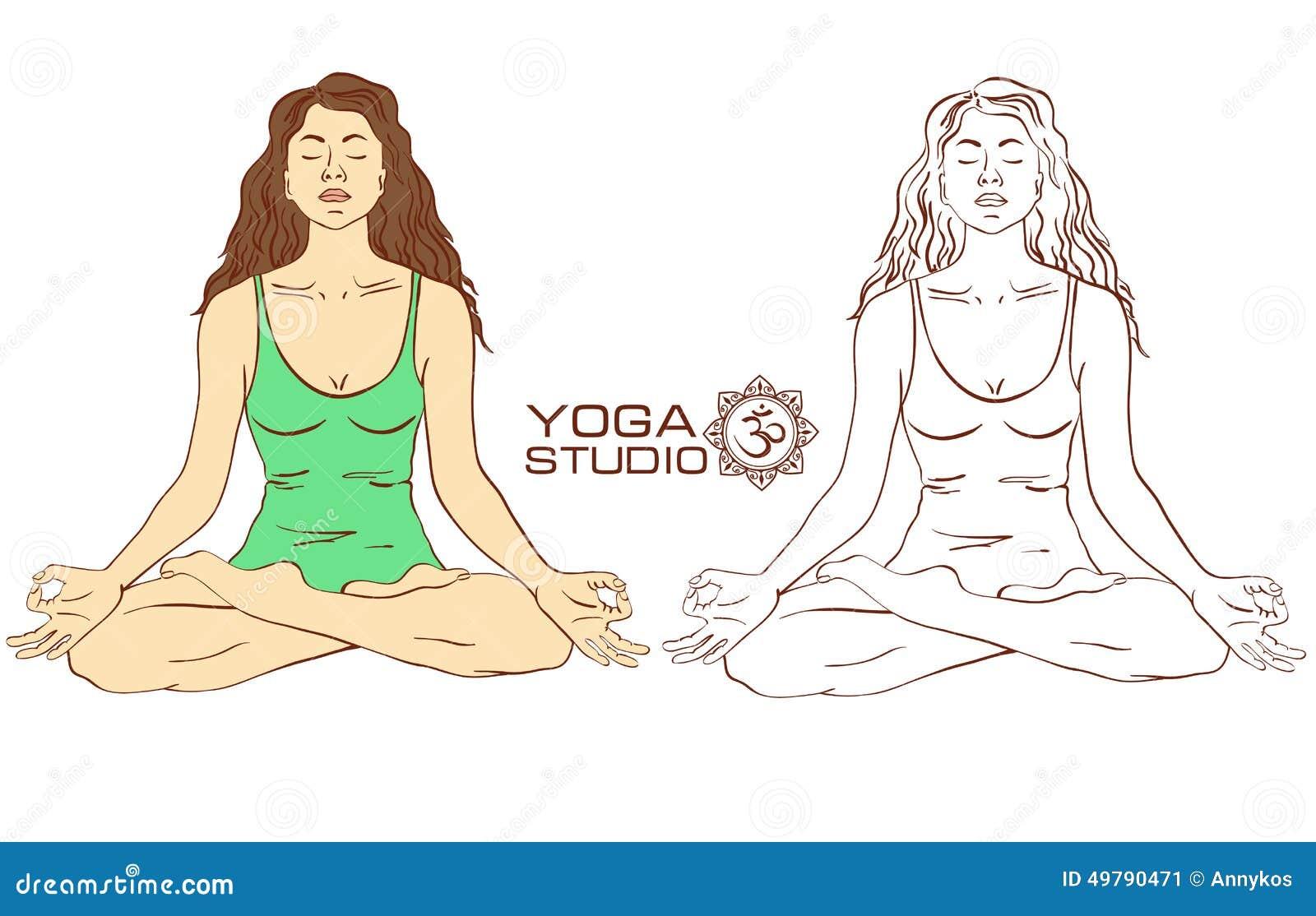 Woman Sitting On Lotus Yoga Pose Stock Vector ...