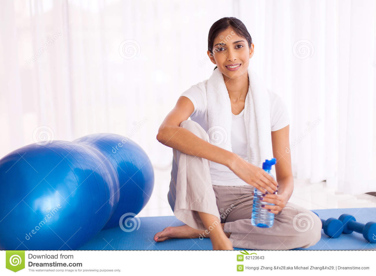 Woman Sitting On Mat Stock Photo Image 62123643
