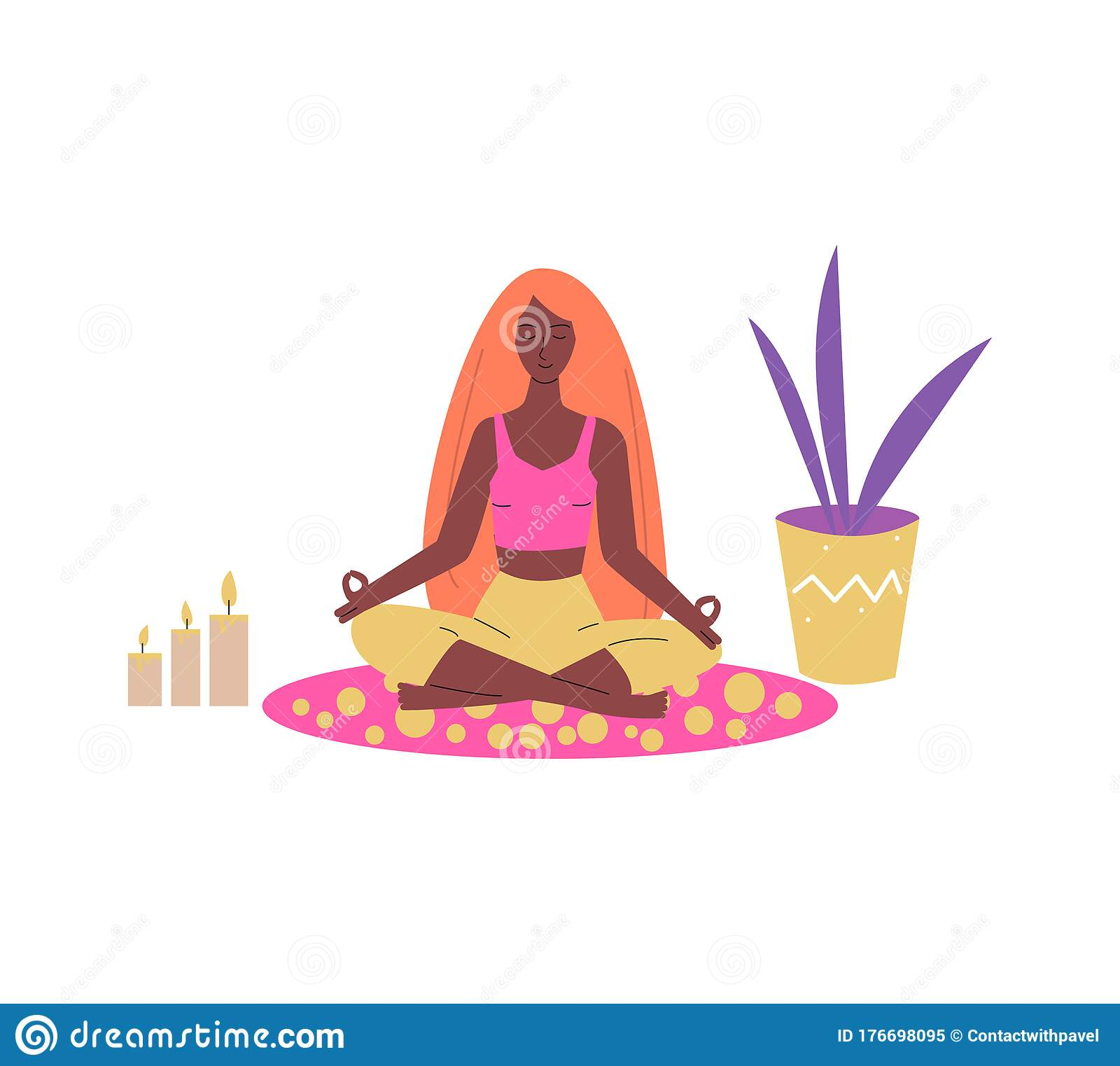Woman Sitting In Meditation Lotus Pose Sketch Vector ...