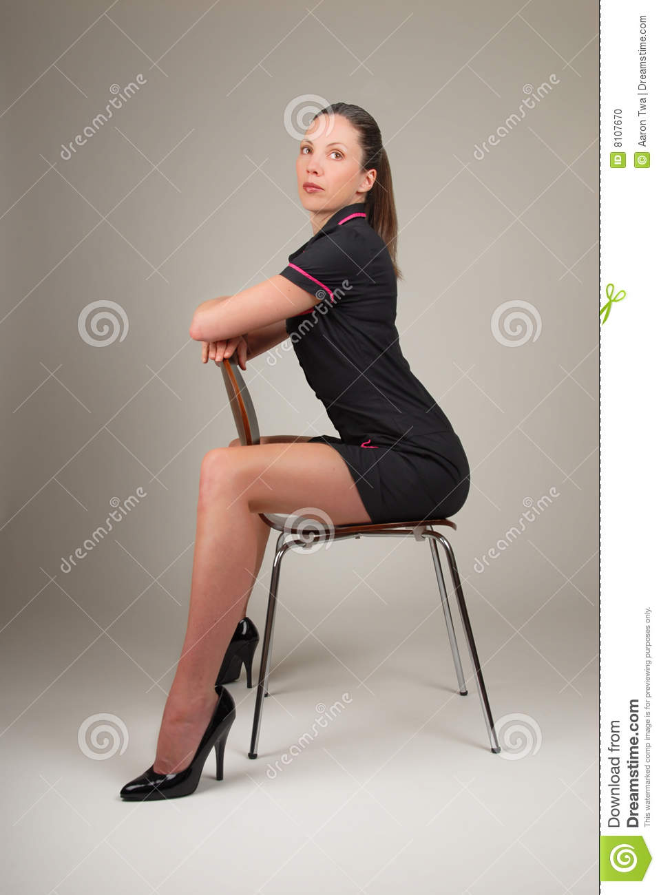 Woman Sitting On Modern Chair Stock Photo - Image: 8107670