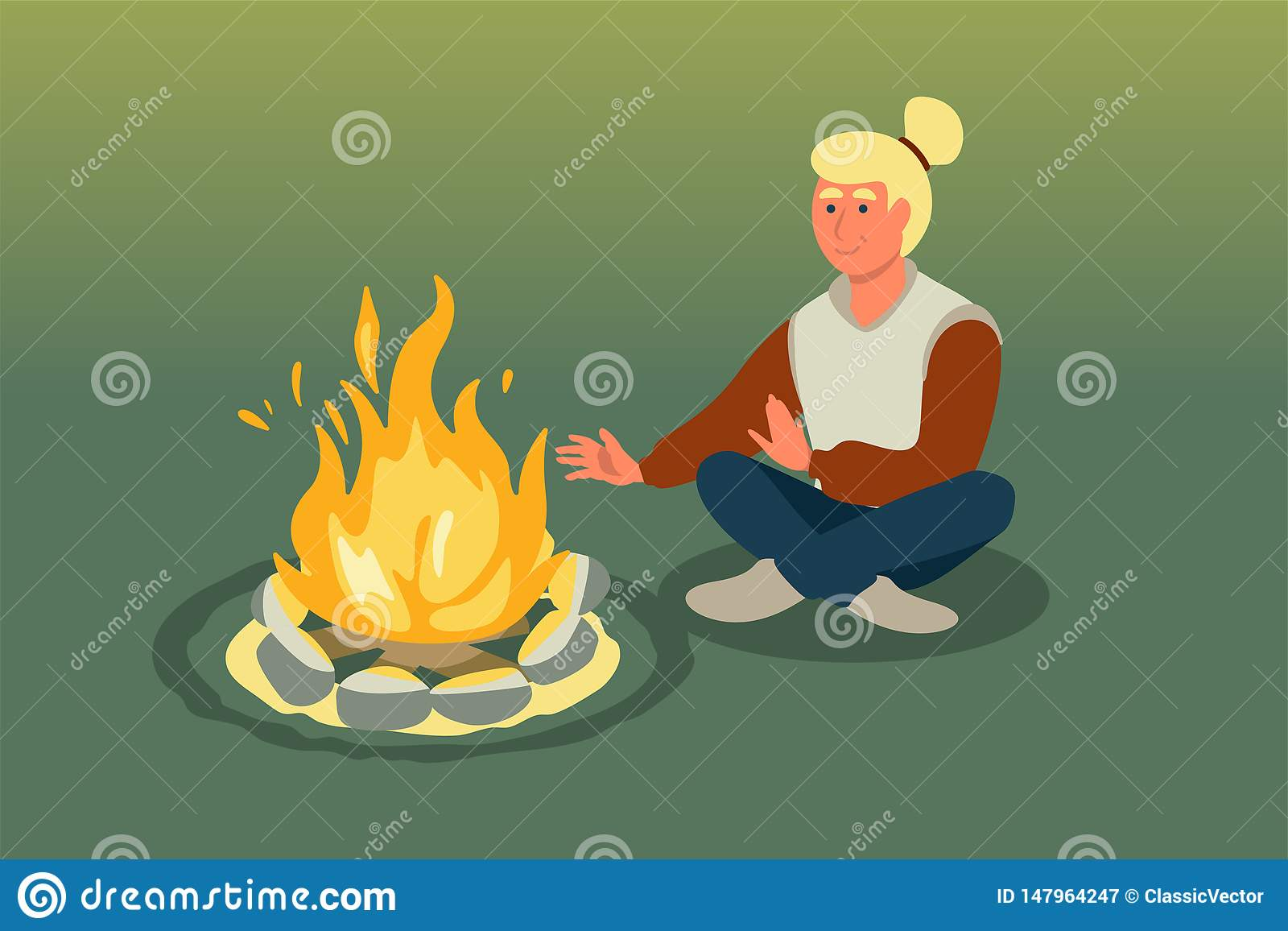 Woman sitting near bonfire vector illustration