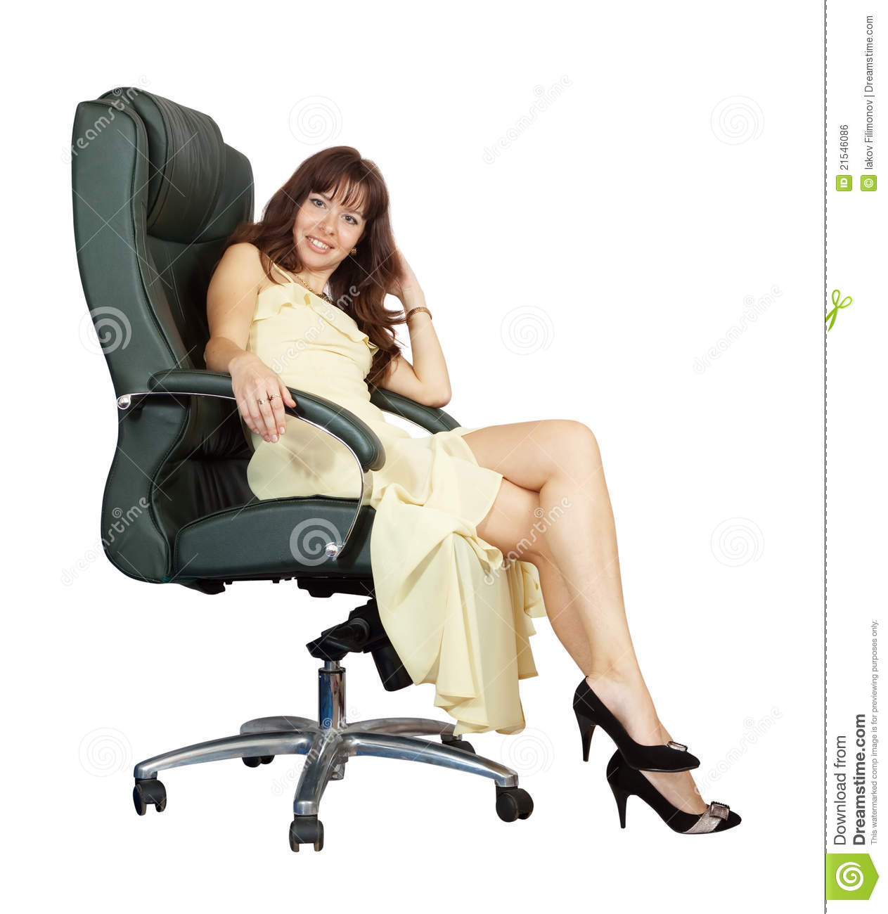 Woman sitting on office armchair royalty free stock image for Sitting in armchair