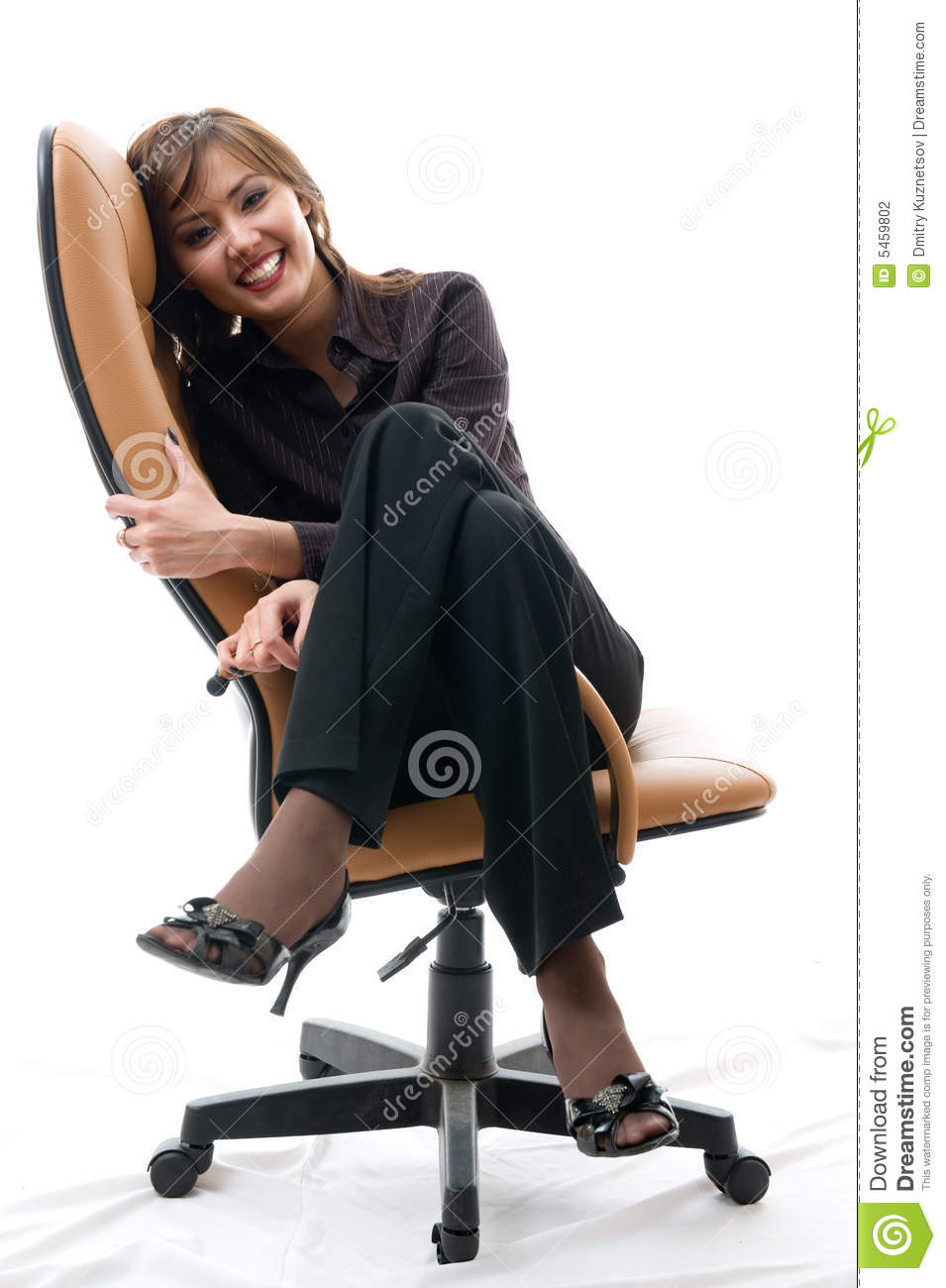Woman Sitting In An Office Armchair Stock Photo - Image of ...