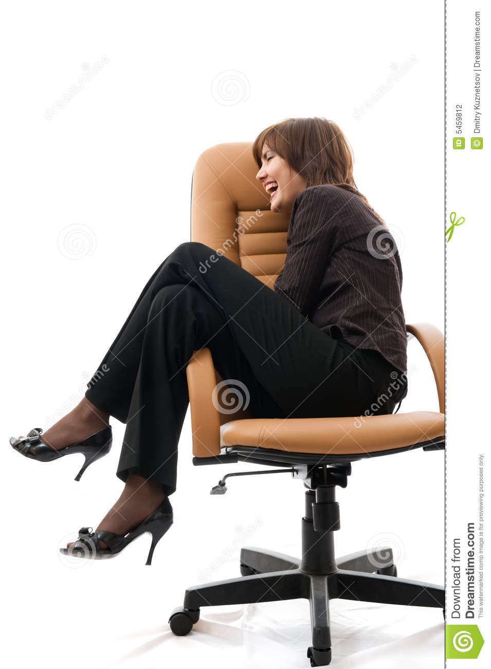 Woman sitting in an office armchair stock photography for Sitting in armchair