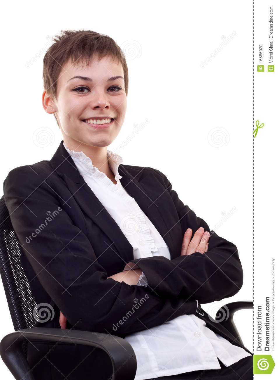 Business woman sitting on office chair , over white