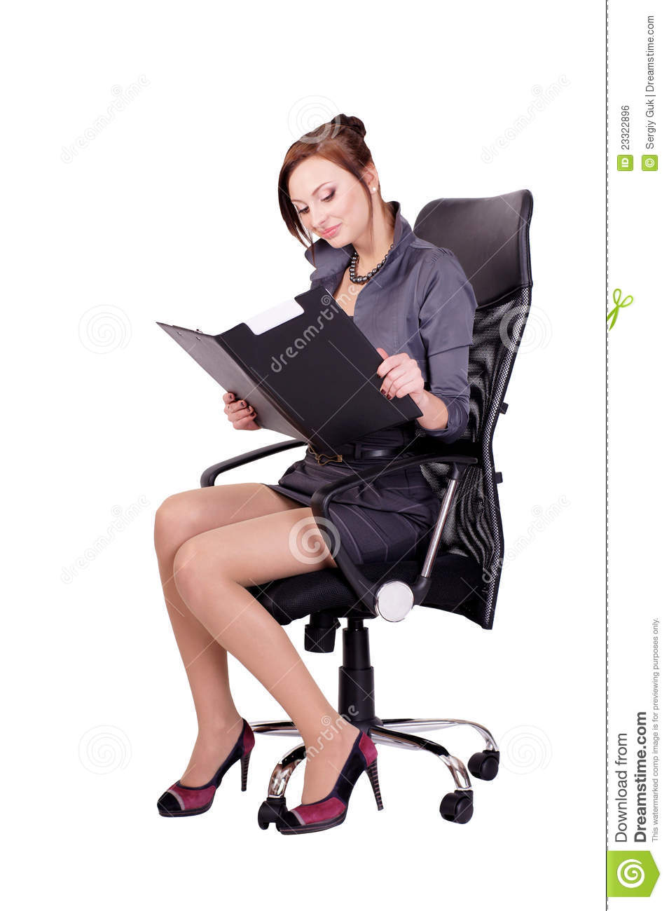 Woman sitting in office chair stock photo image of hold for Sitting easy chairs