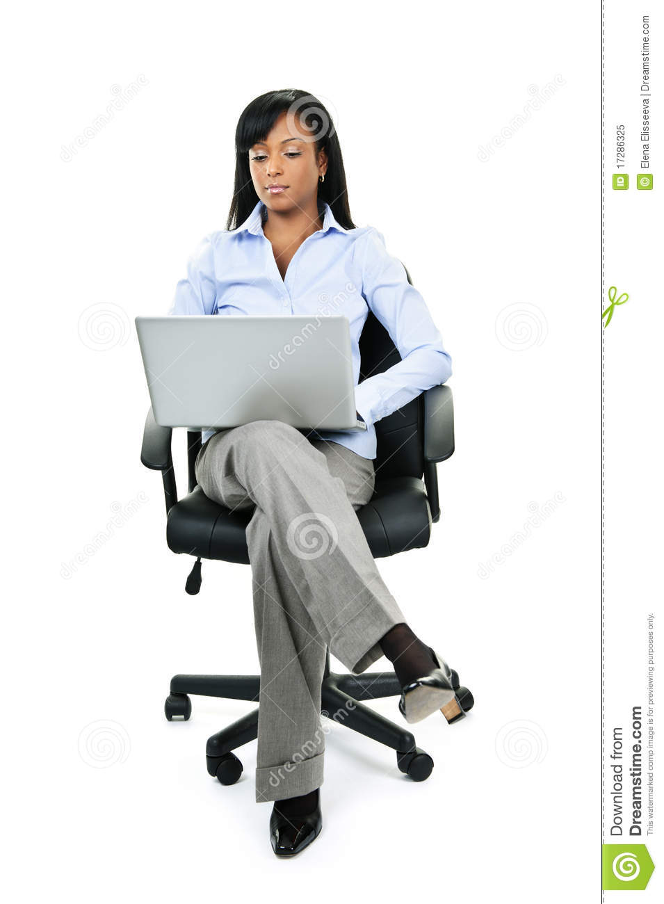 Woman Sitting In Office Chair With Computer Royalty Free