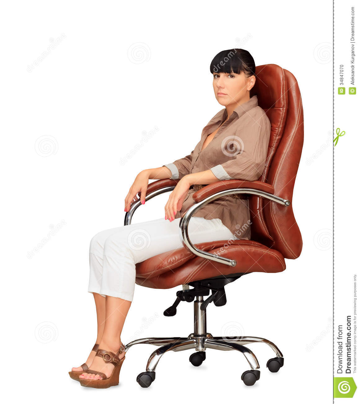 Woman Sitting In Office Chair Stock Photo Image Of