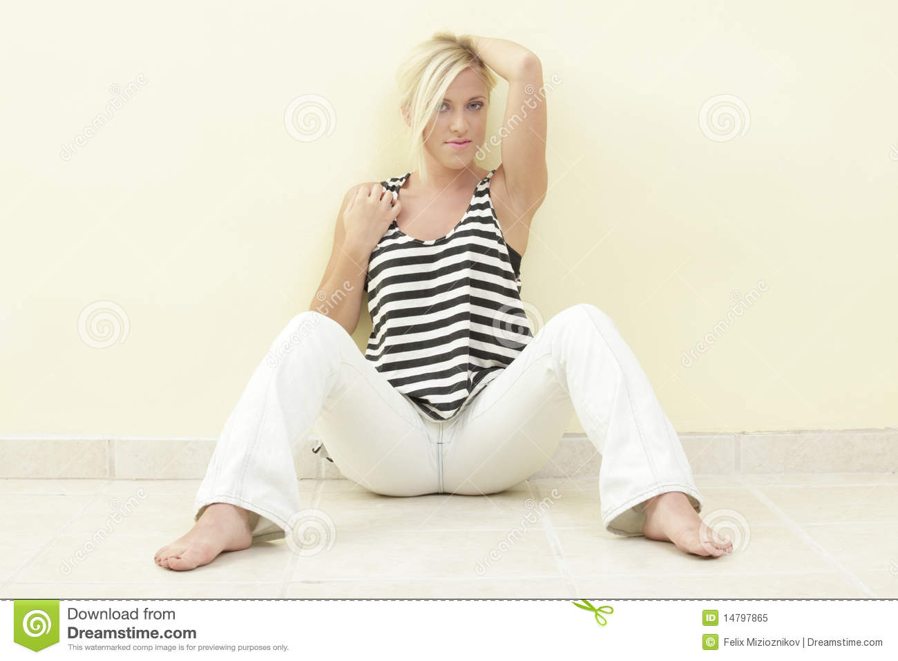 Woman In A Sitting Pose Royalty Free Stock Photo - Image ...