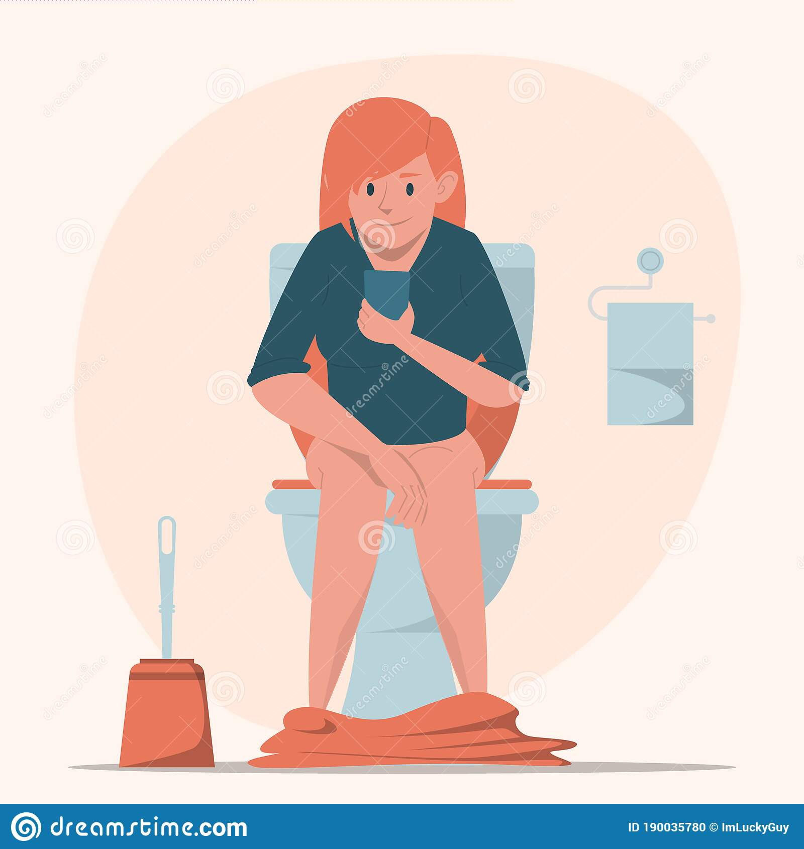 Girl and toilet Royalty Free Vector Image - VectorStock