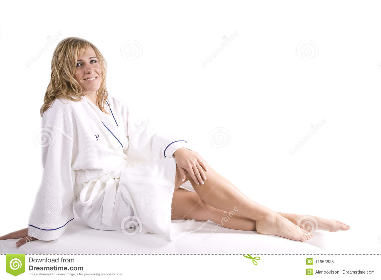Woman Sitting In White Robe Royalty Free Stock Photo - Image: 11653835