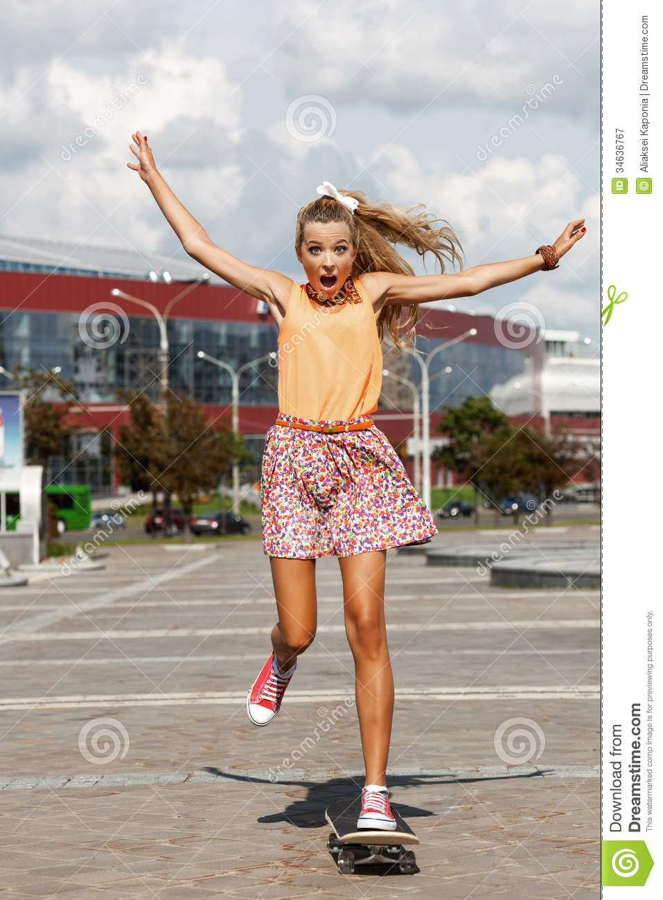 Woman with skateboard stock image. Image of leisure ...