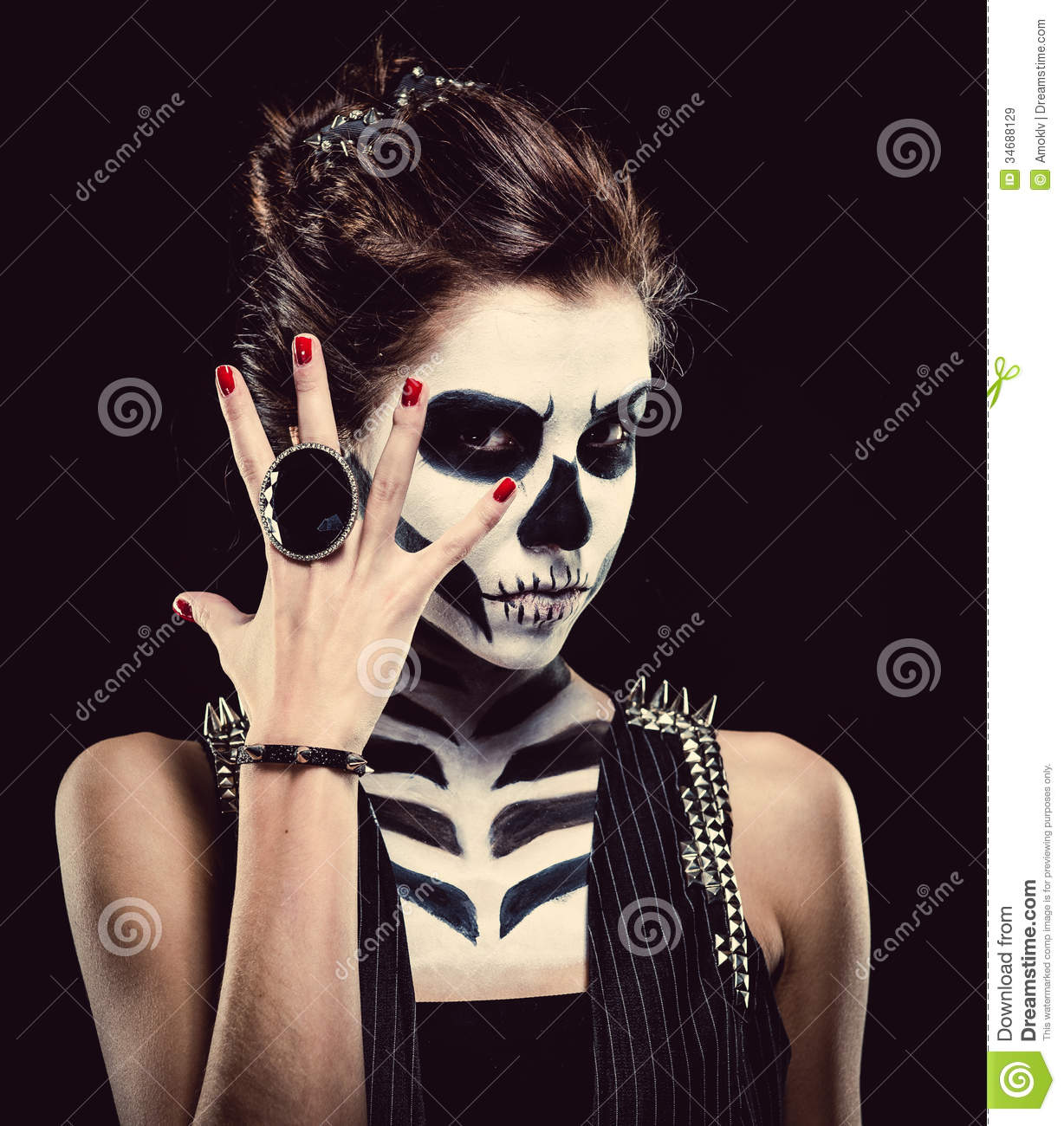Woman with skeleton face art