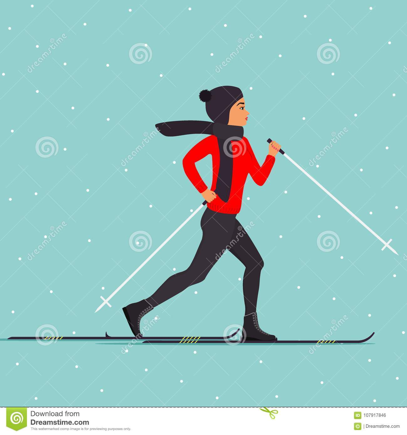 ee6eebe11d Vector illustration in flat style. Royalty-Free Illustration. Woman skier  in motion. Cross country skiing woman. Young woman in winter clothes on