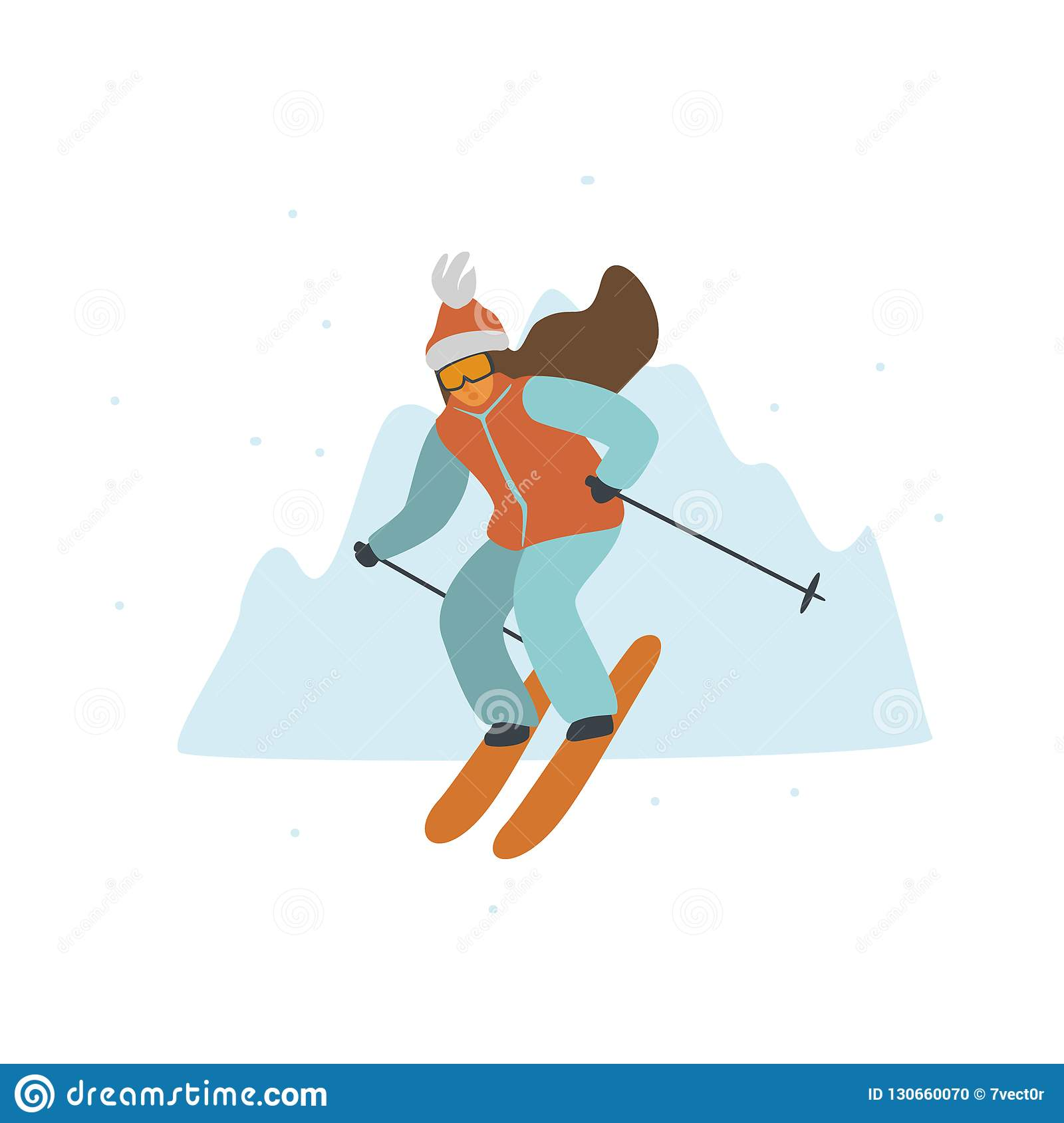 bfa8bccd4db0 Woman Skiing In Winter Mountains Resort Isolated Vector Illustration ...