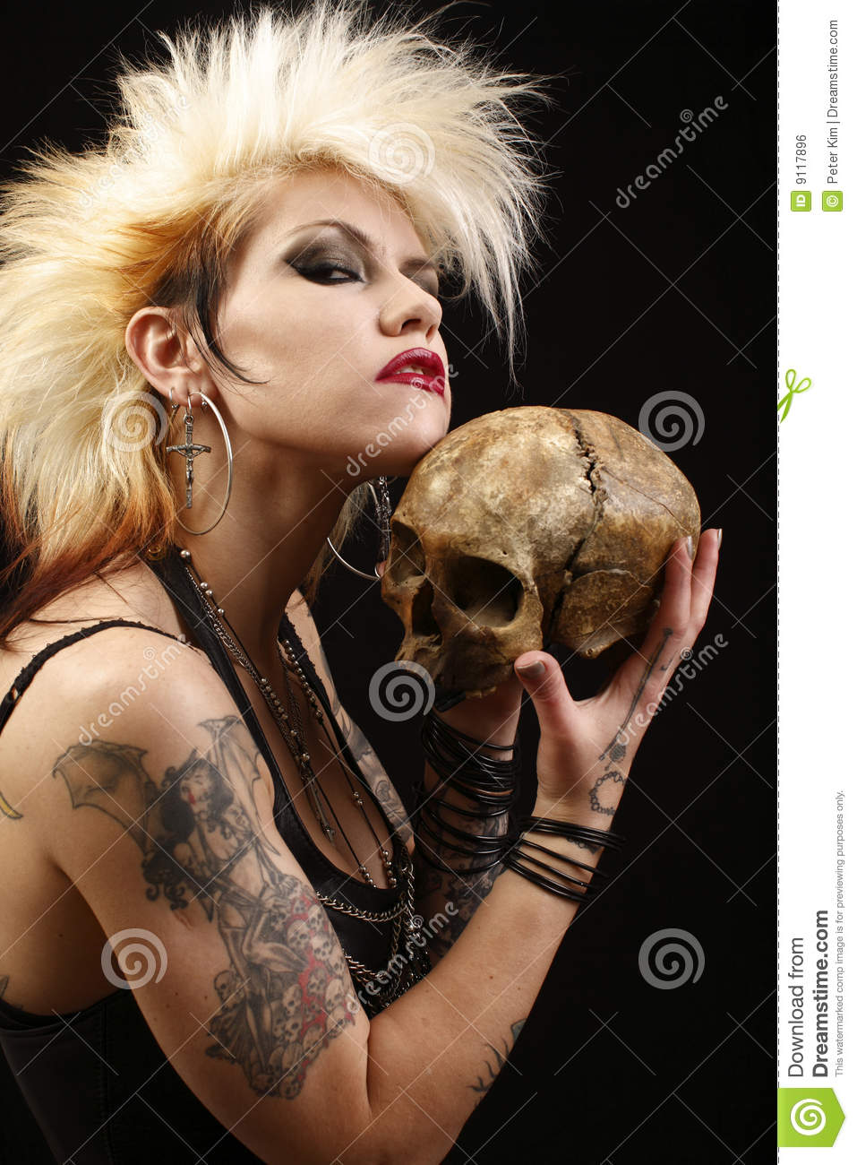 Woman with skull