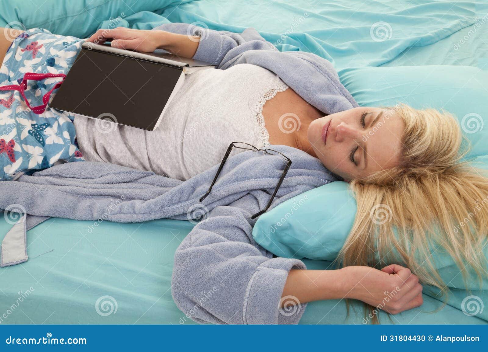 Woman Sleep Book Tired Stock Photo - Image: 31804430
