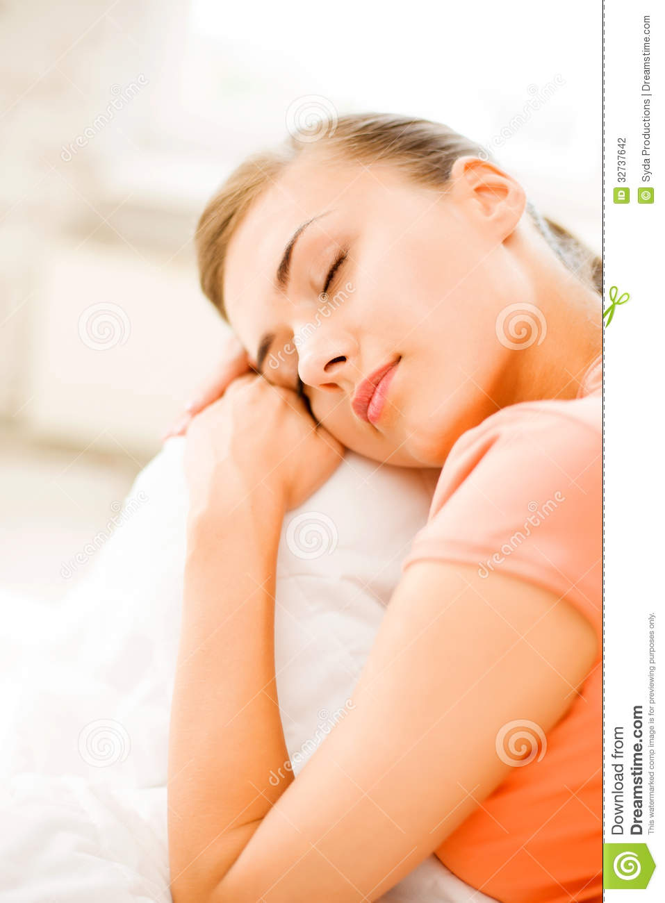 Woman Sleeping On The Couch At Home Stock Photography ...