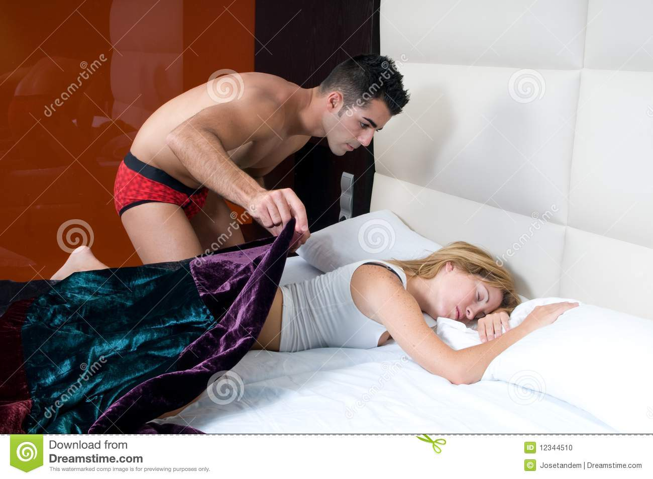 Woman Sleeping And Man In Silence In Her Bedroom Stock ...