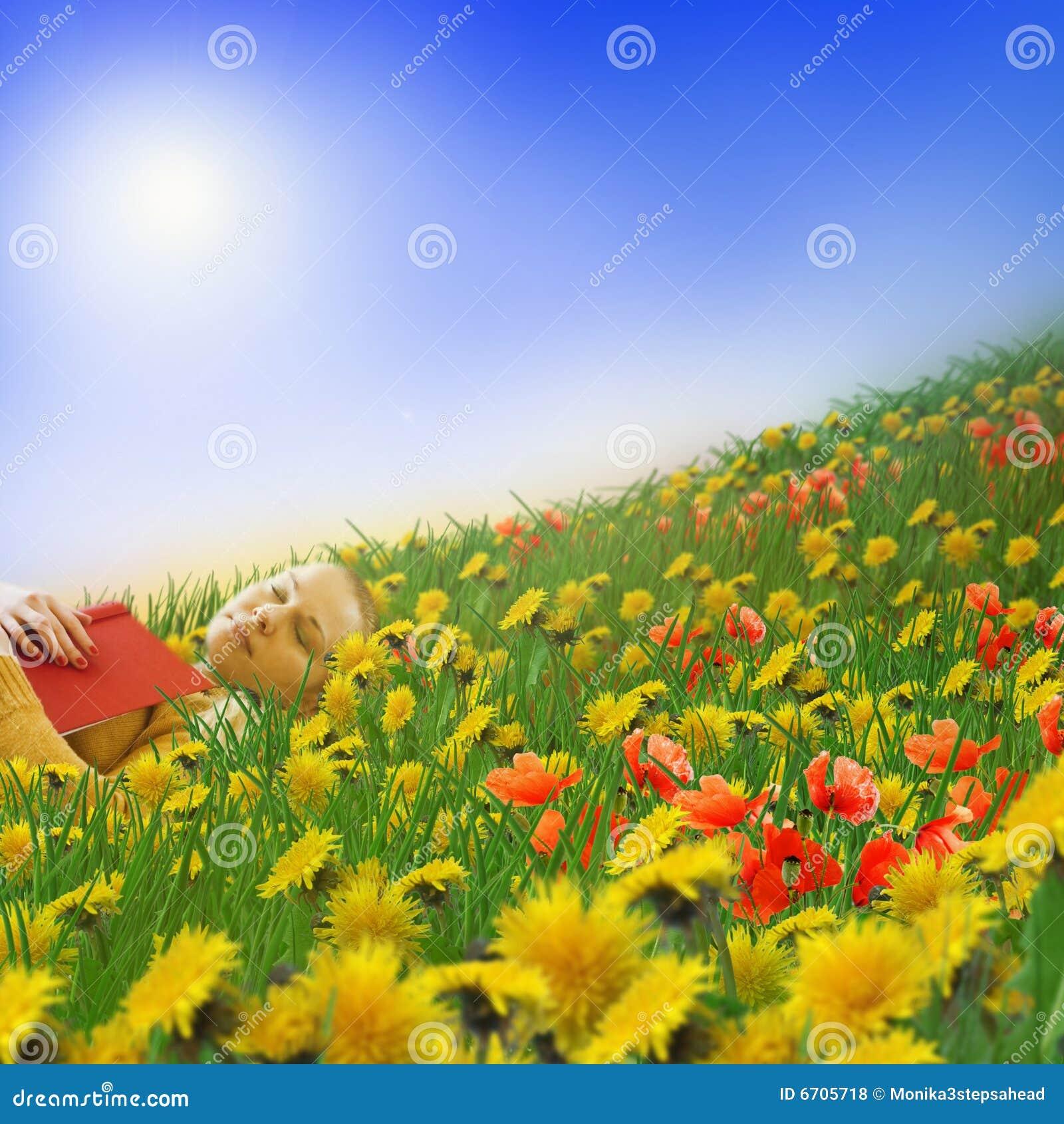 Woman sleeping on a meadow