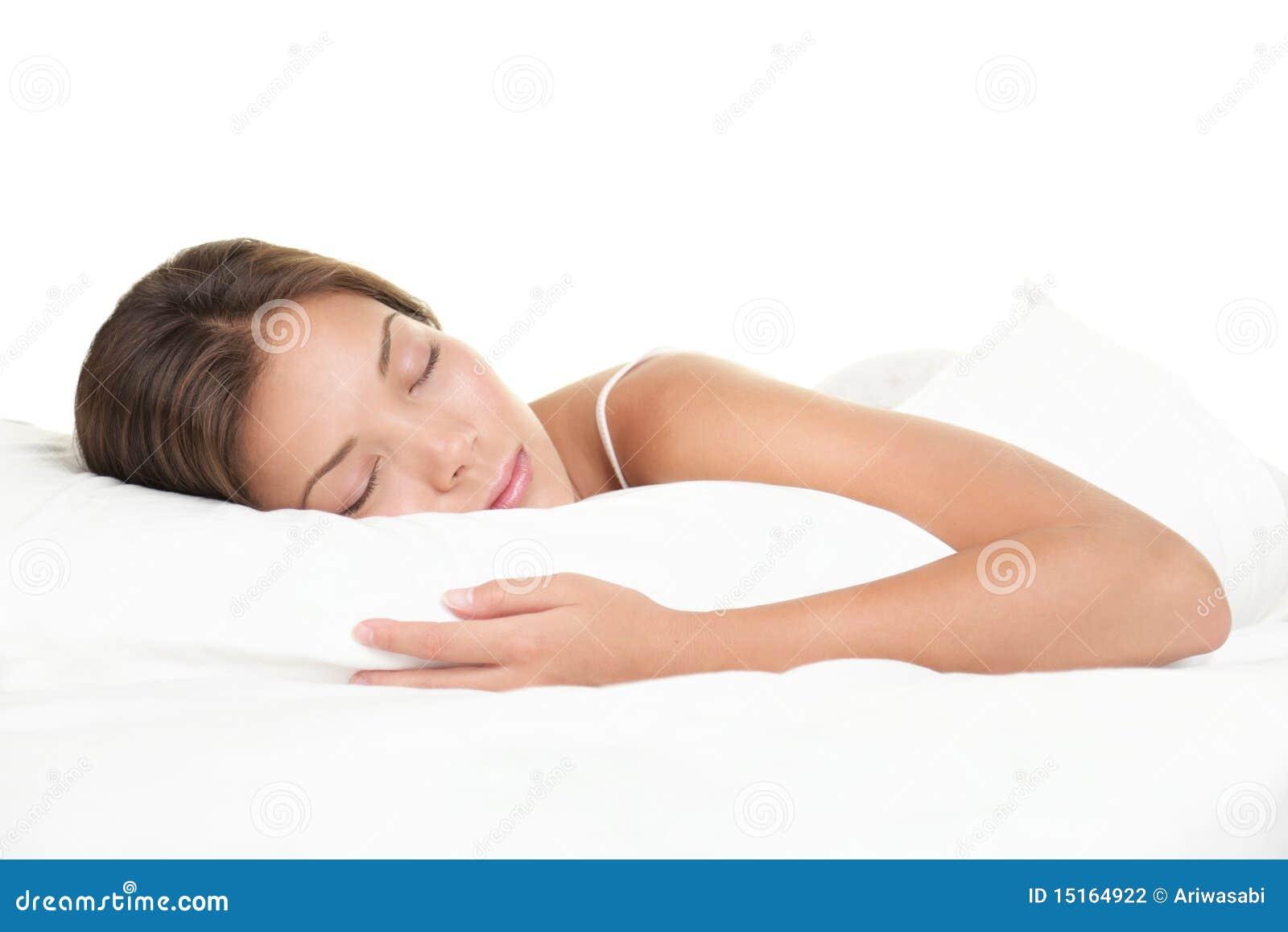 Woman Sleeping On White Background Stock Photography
