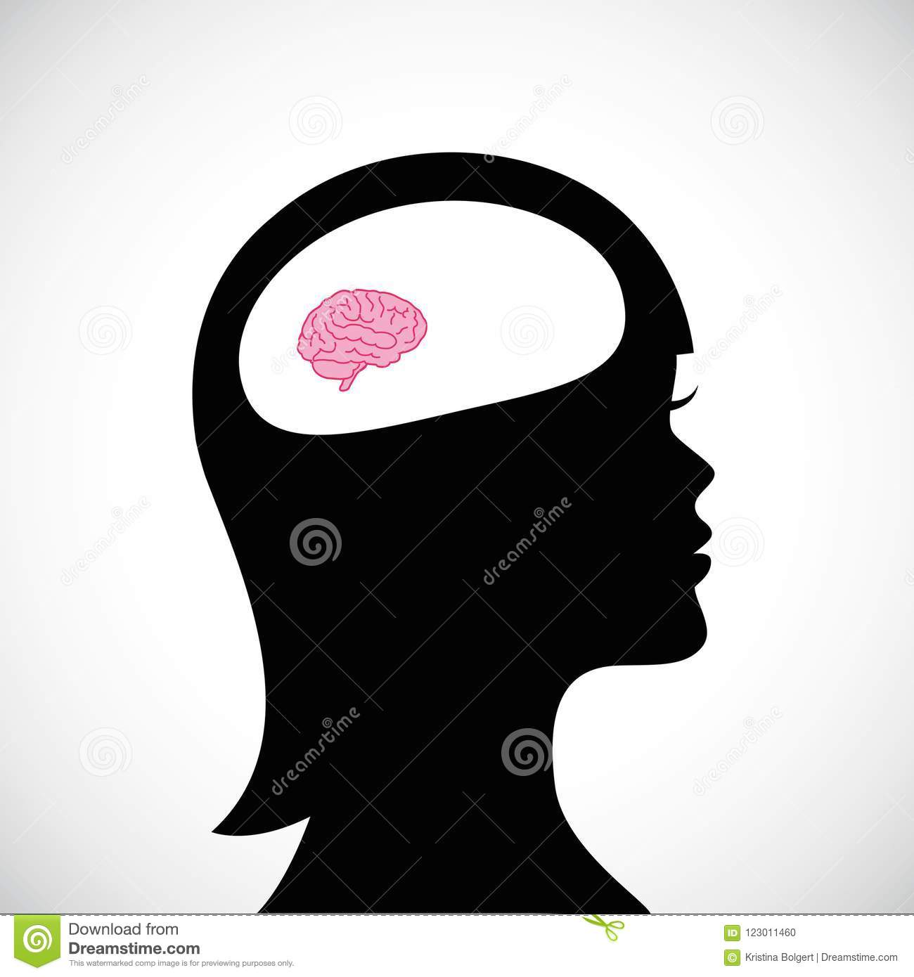 Woman with small brain thinking