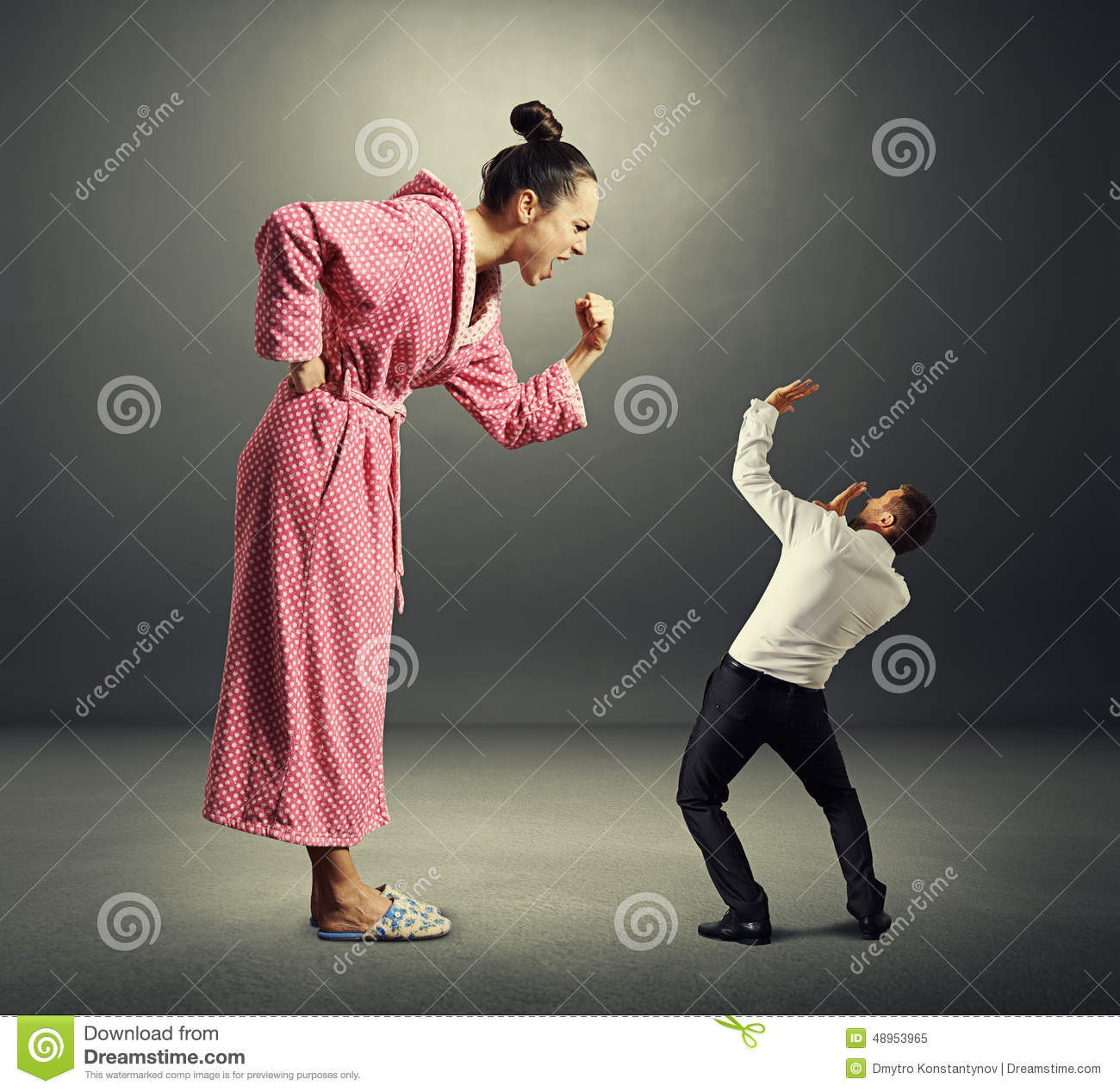Woman and small man stock image. Image of male, evil - 48953965
