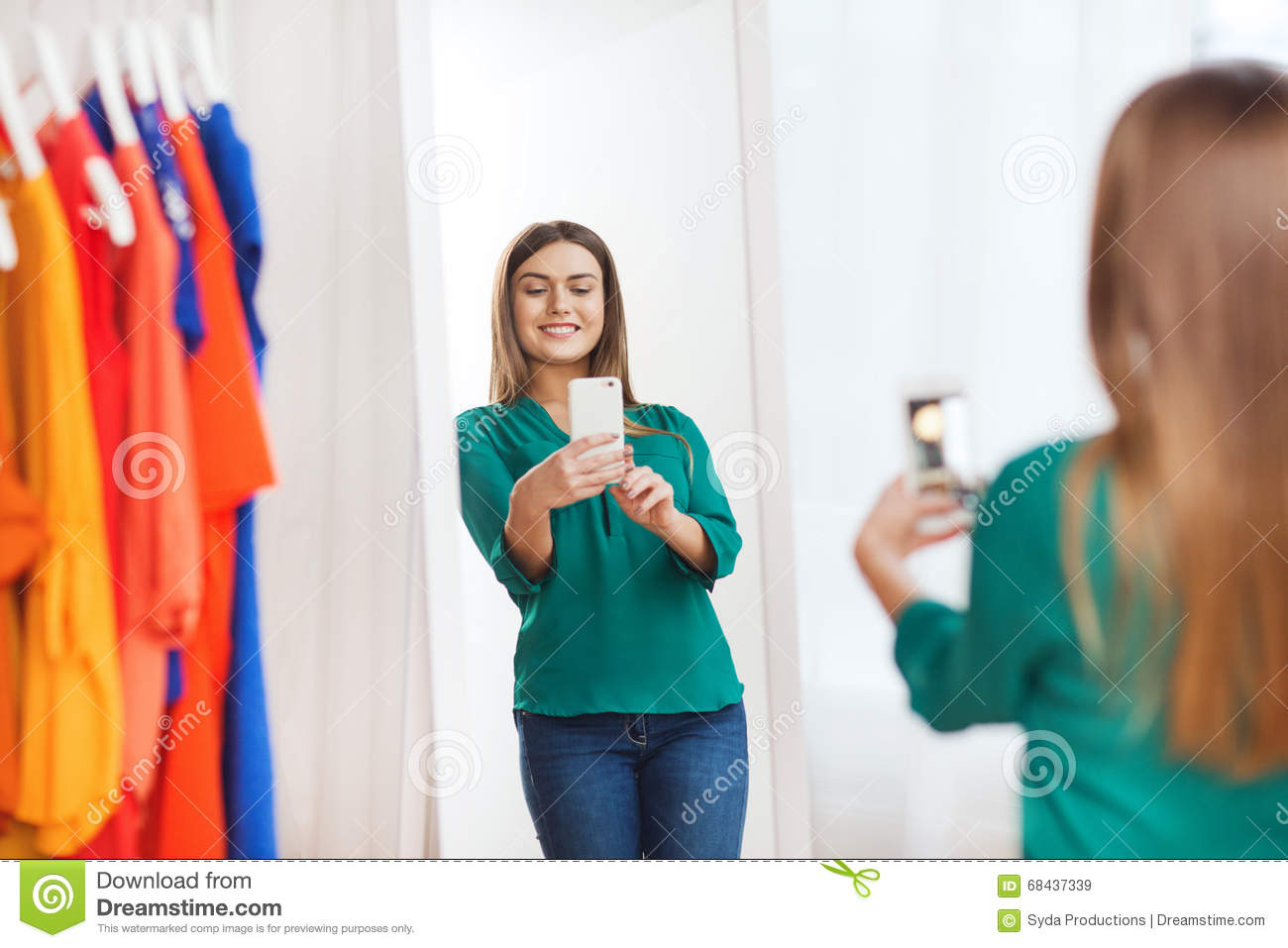 Woman With Smartphone Taking Mirror Selfie At Home Stock Photo Image 68437339