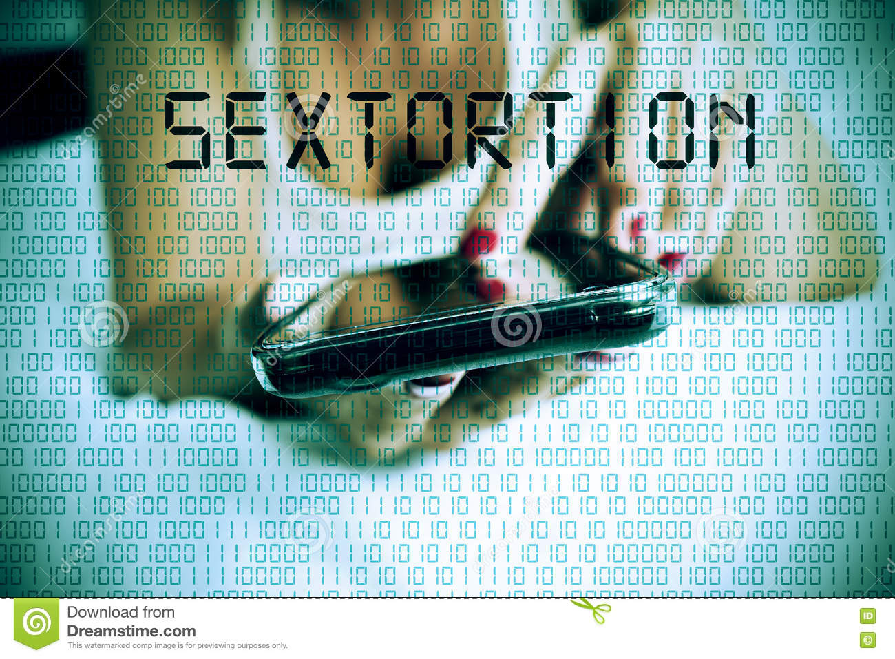 Woman with smartphone and text sextortion