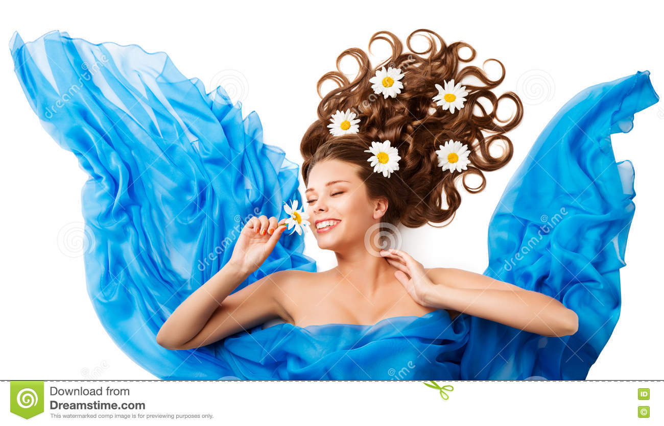Woman Smelling Flower, Happy Girl Flowers Hair Style in Cloth
