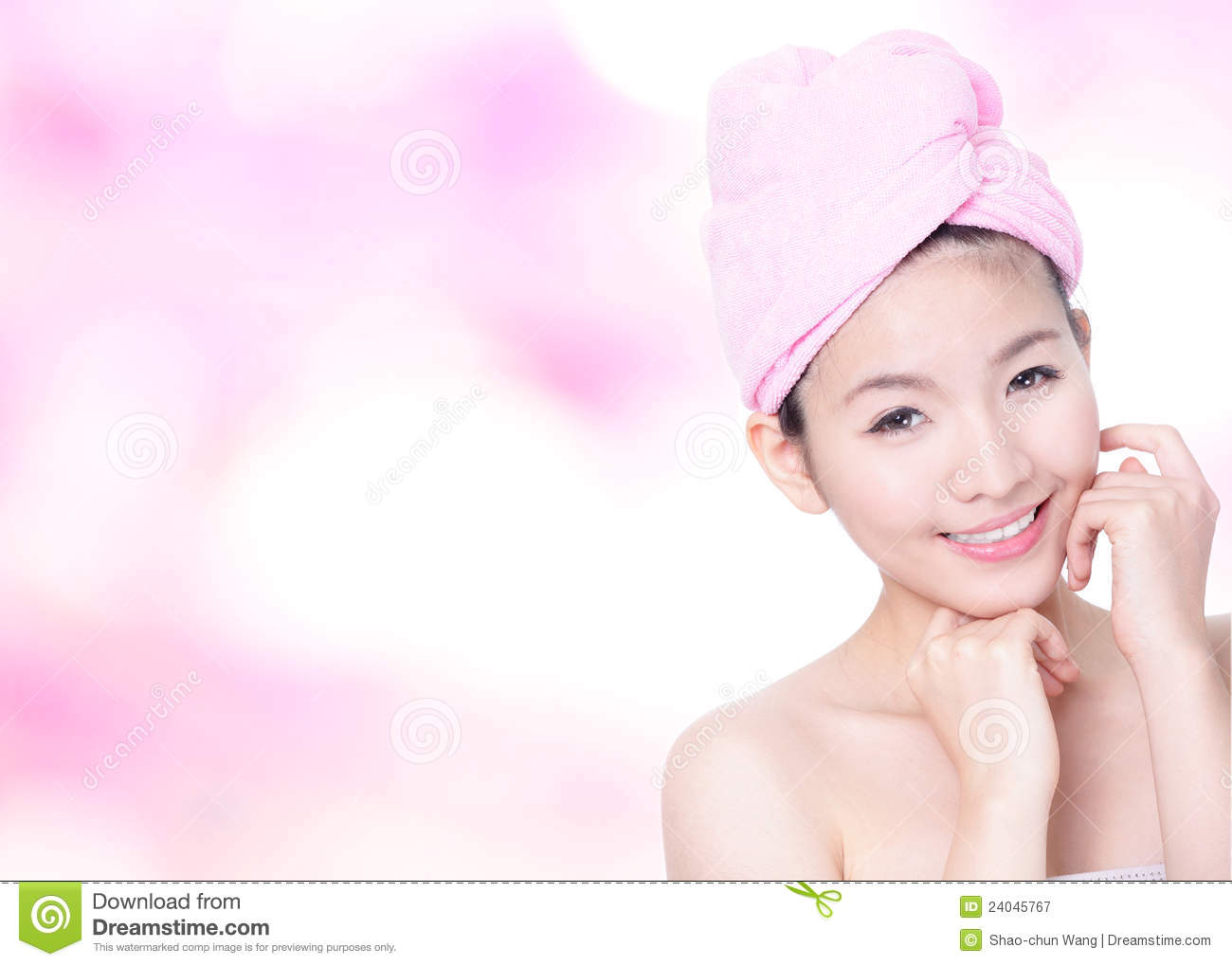 Woman Smile Face After Bath - Spa Stock Image - Image of care, eyes ...