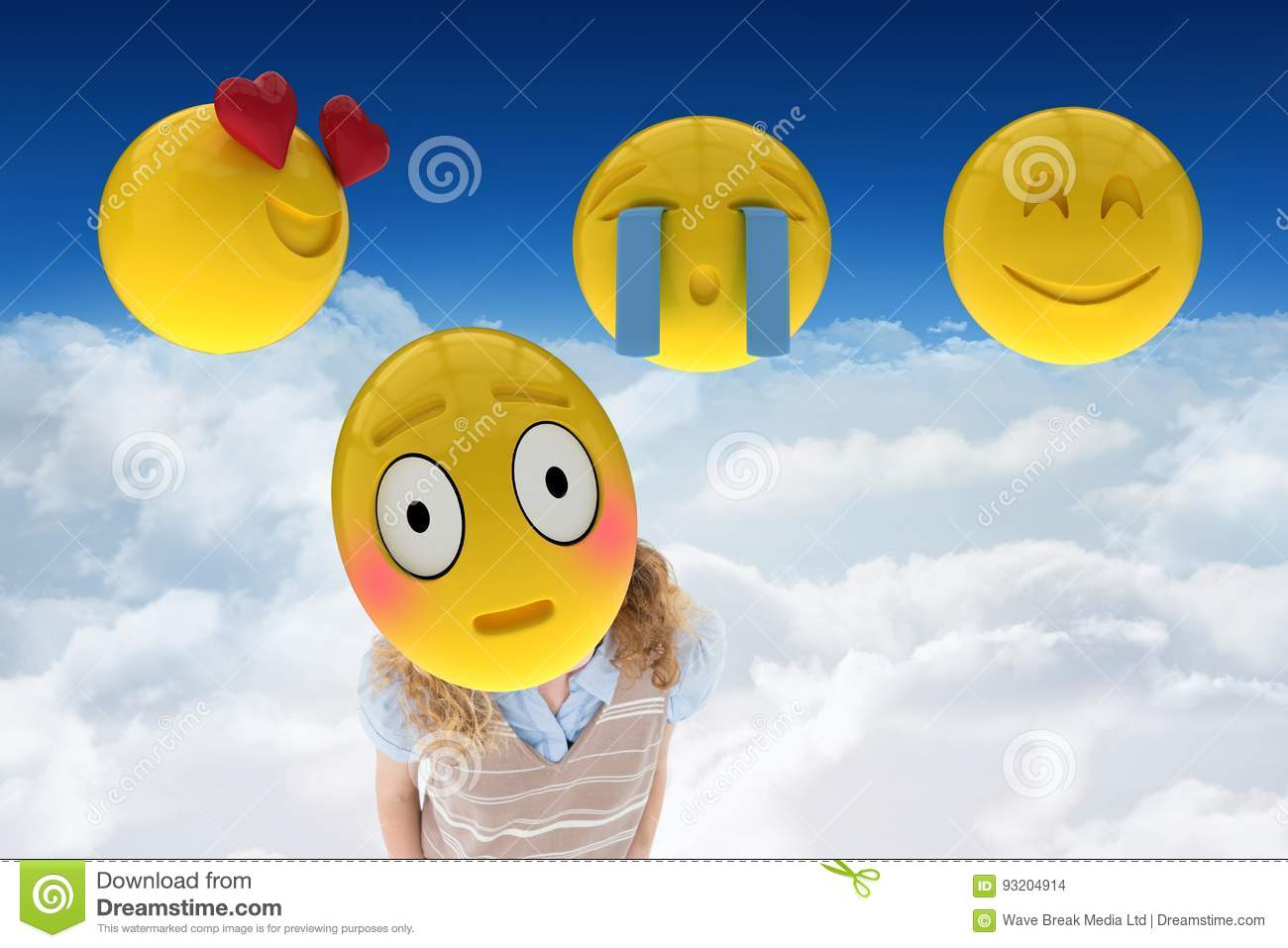 Woman With Smiley On Her Face Against Cloudy Background Stock Photo