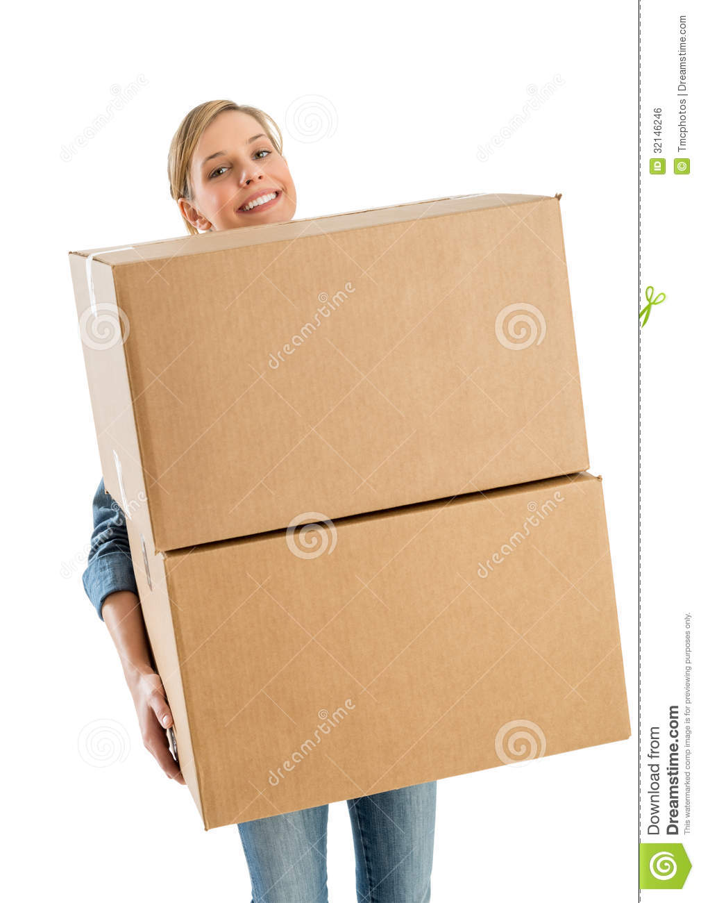 woman smiling while carrying stacked cardboard boxes stock photo image of relocation adult. Black Bedroom Furniture Sets. Home Design Ideas