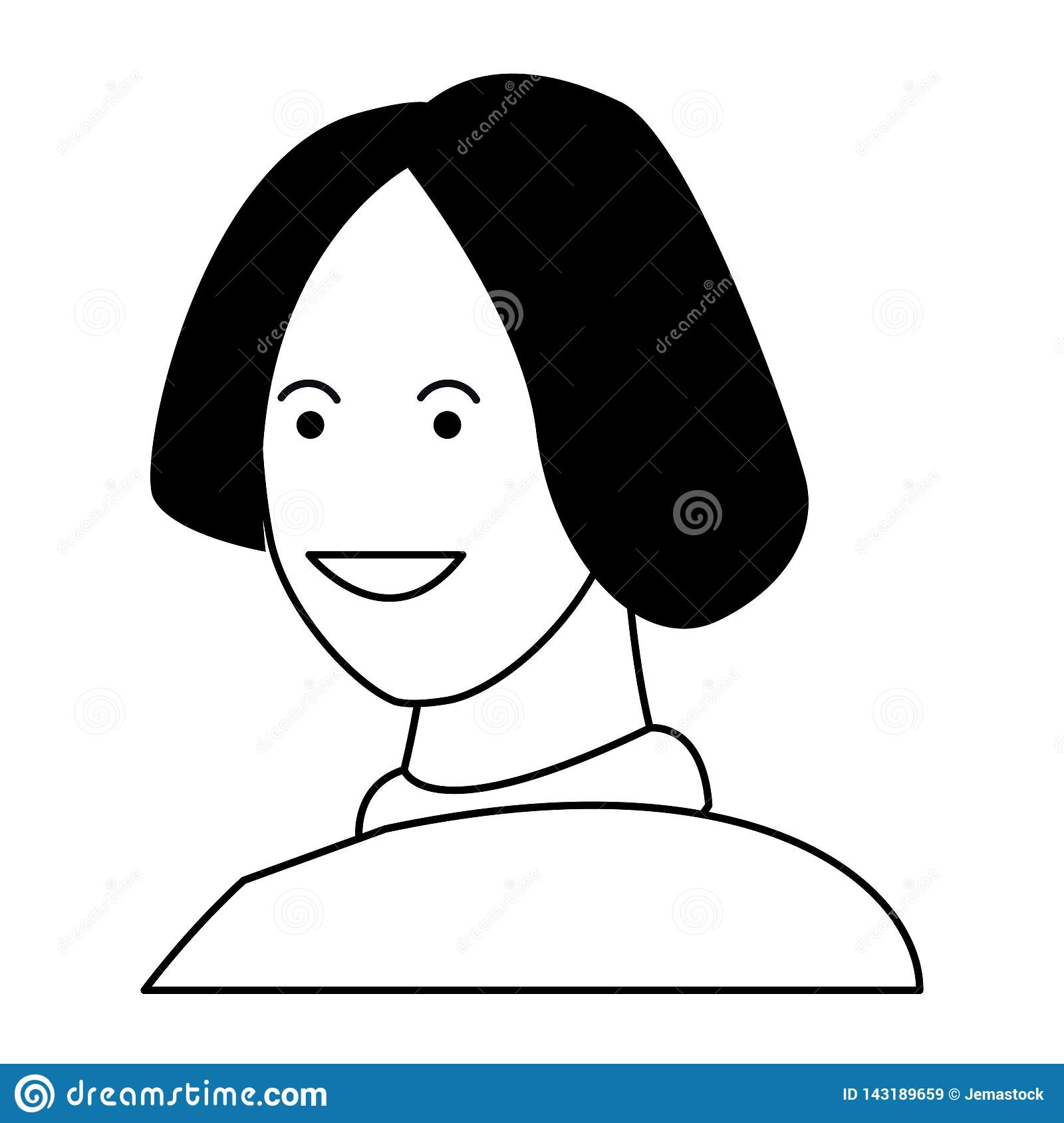 Woman Smiling Cartoon Profile In Black And White Stock Vector Illustration Of Casual Character 143189659