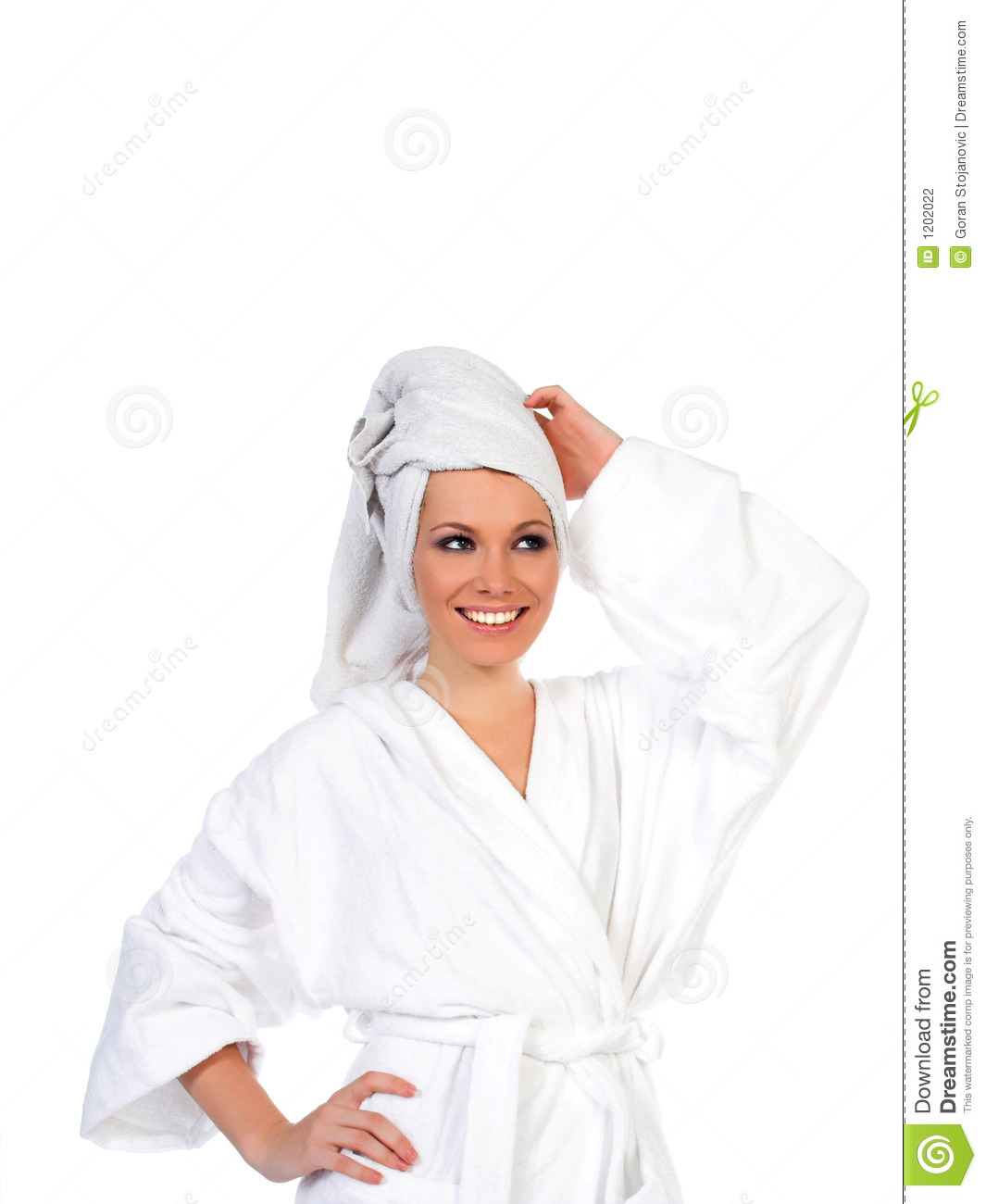 Woman smiling after relaxing bath