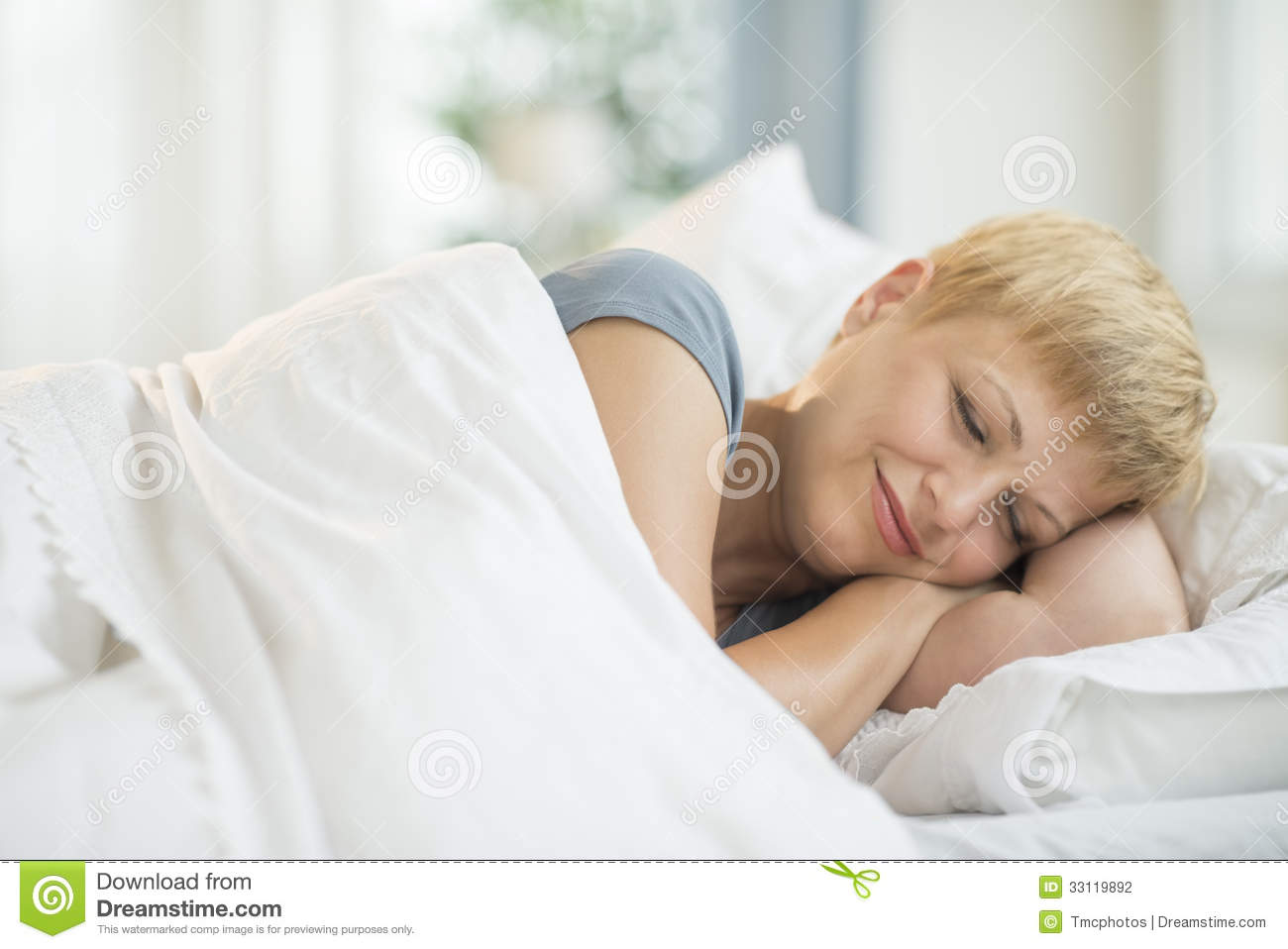 Fat woman in bed