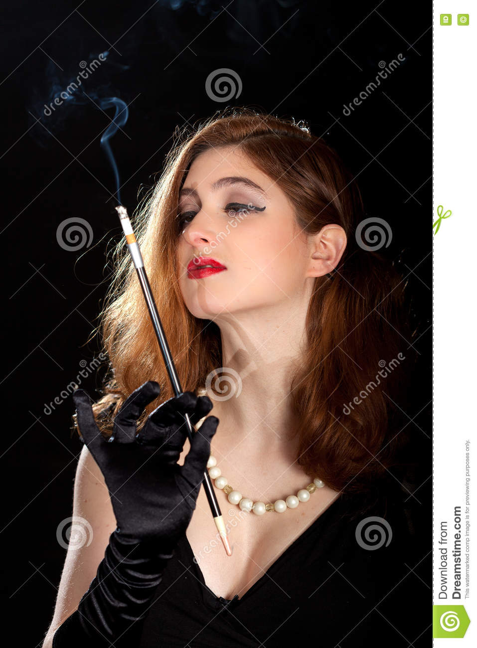 woman smoking film noir stock photo image 70527218