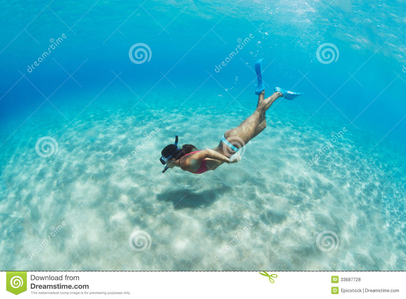 Woman Snorkeling In Tropical Sea Royalty Free Stock Photos - Image ...
