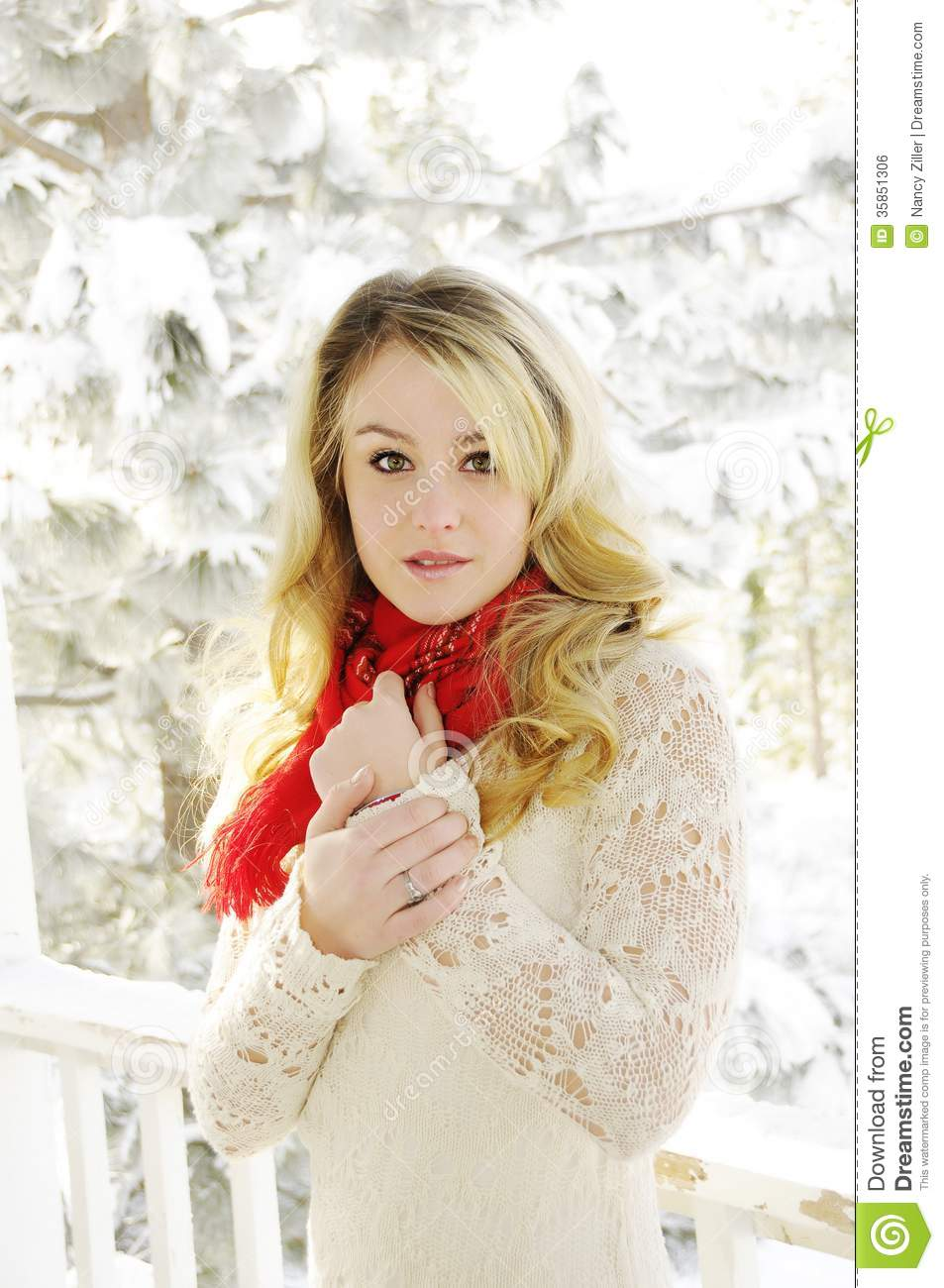 Woman In Snow Royalty Free Stock Image Image 35851306