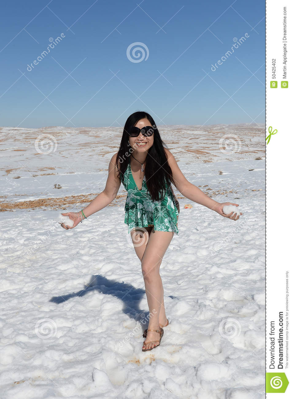 Woman In The Snow Stock Photo Image 50425402