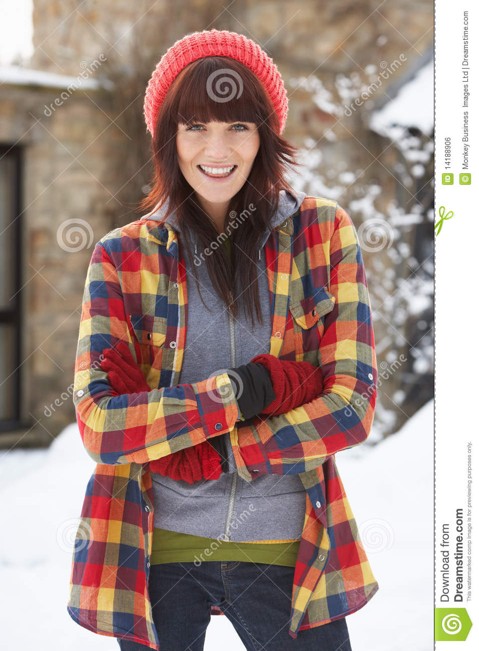 Woman In Snowy Landscape Wearing Warm Clothing
