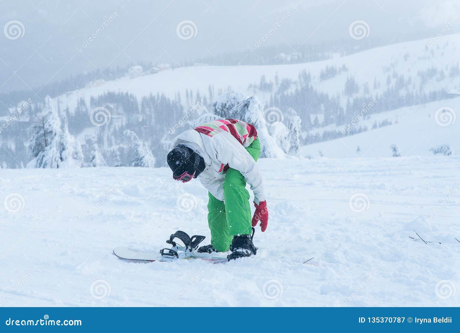 Woman Snowboard Snowboarder Winter Snow Snowboard Stock