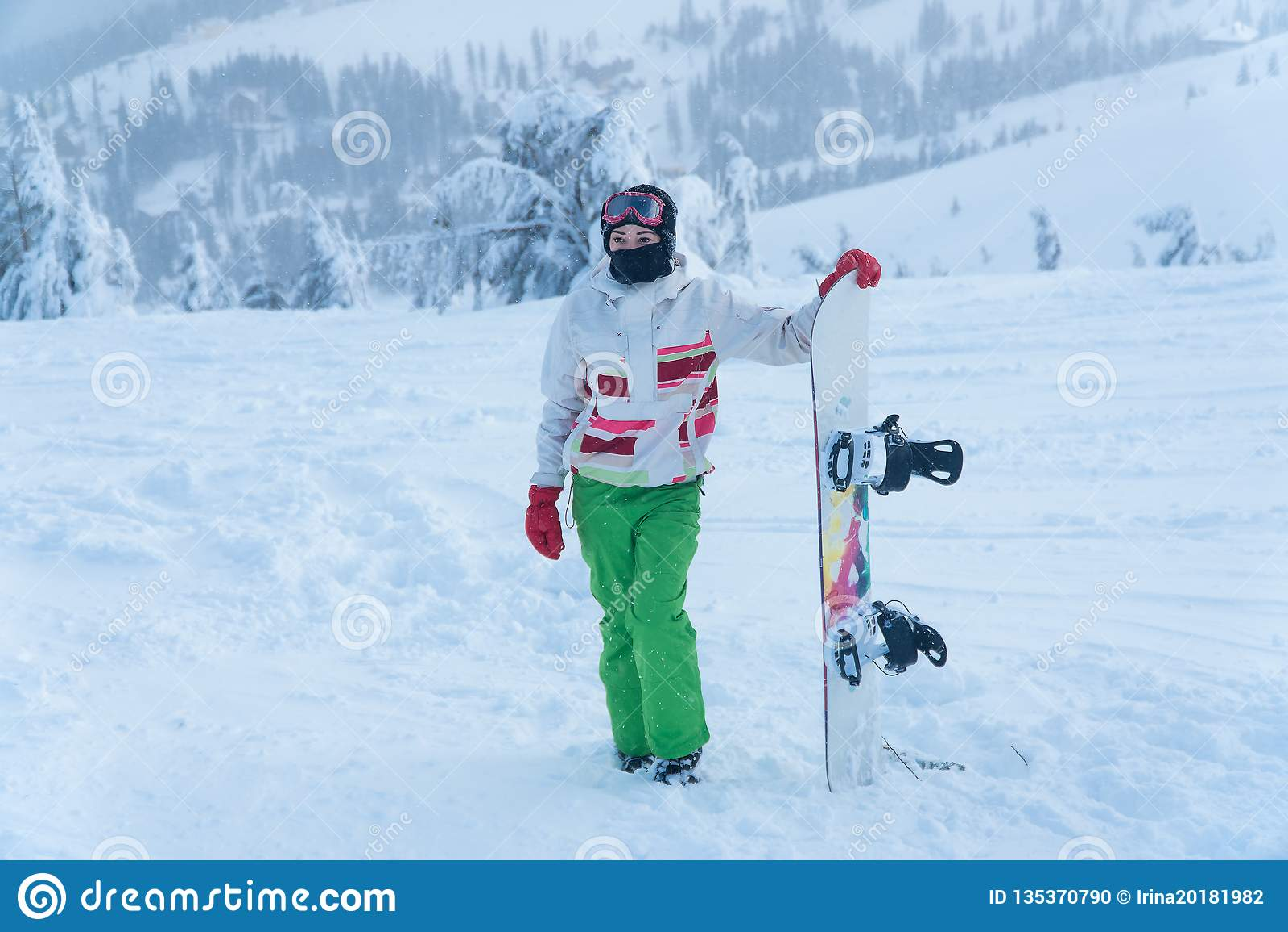 Woman snowboard. snowboarder. winter snow snowboard