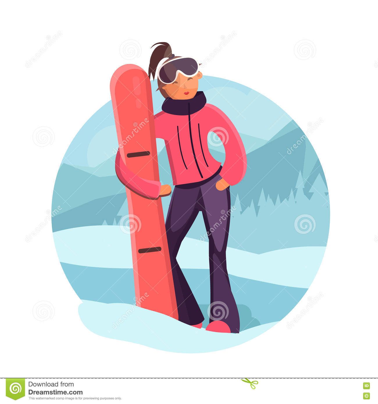 9afd33a5f5 Woman with snowboard vector illustration. Cute girl in winter sport clothes.  Girl in ski goggles. Flat style illustration of winter sport.