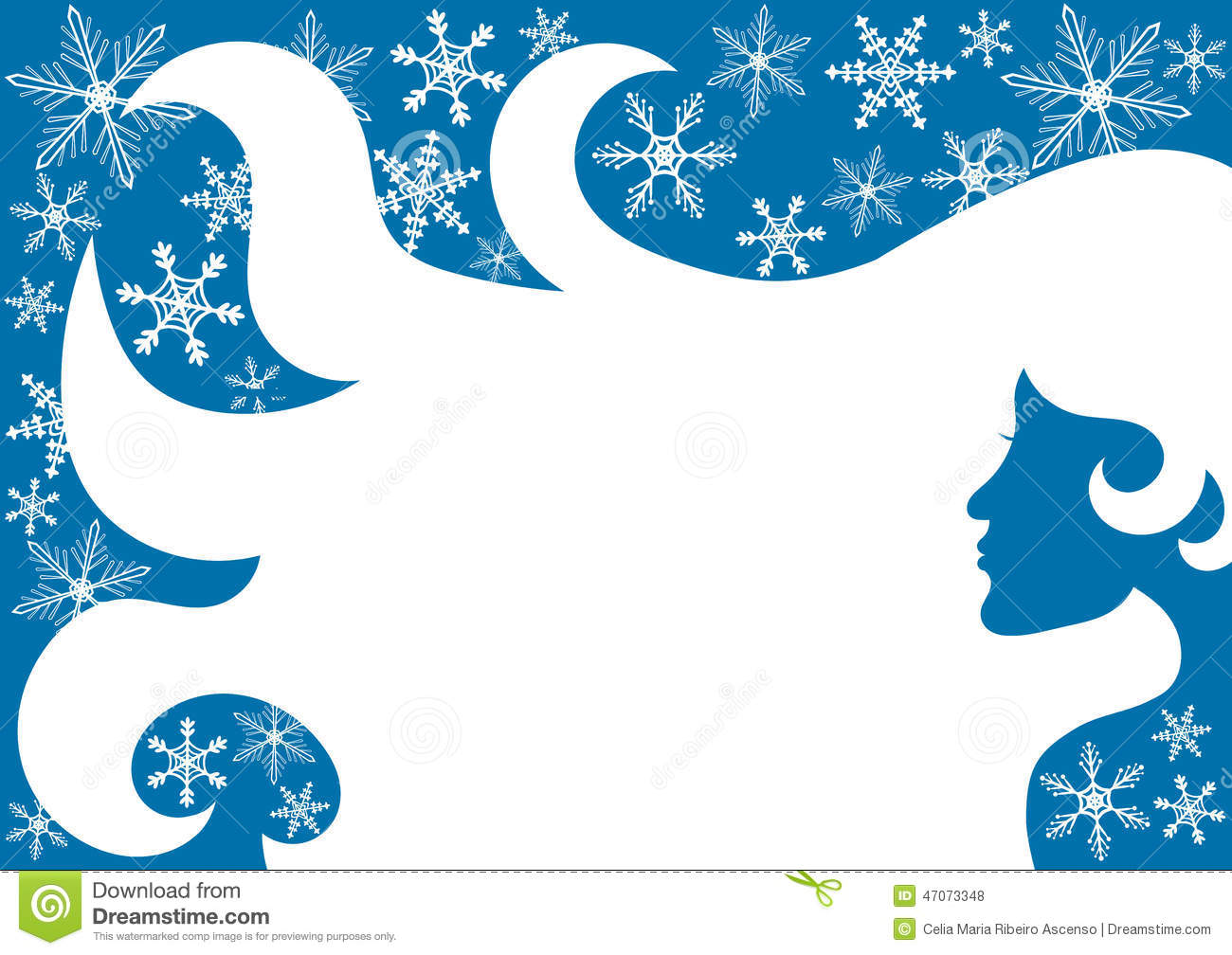 Christmas frame border with a girl, flying hair and snowflakes. Hair ...